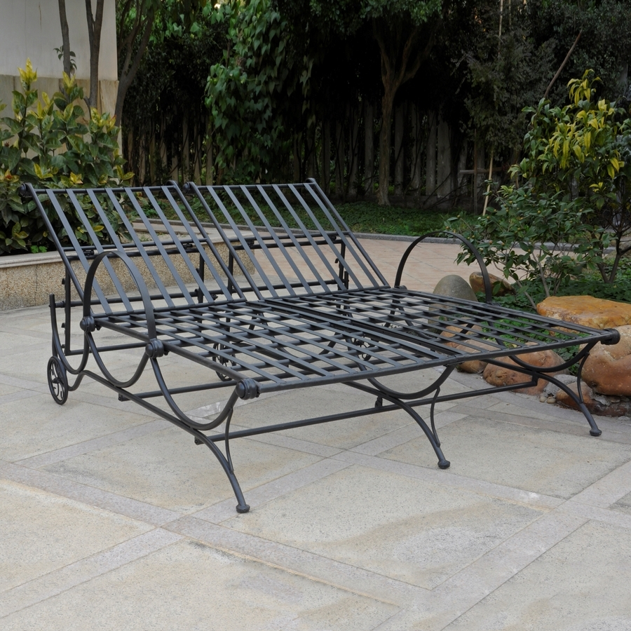 Well Known Shop International Caravan Antique Black Wrought Iron Patio Chaise For Wrought Iron Outdoor Chaise Lounge Chairs (View 11 of 15)