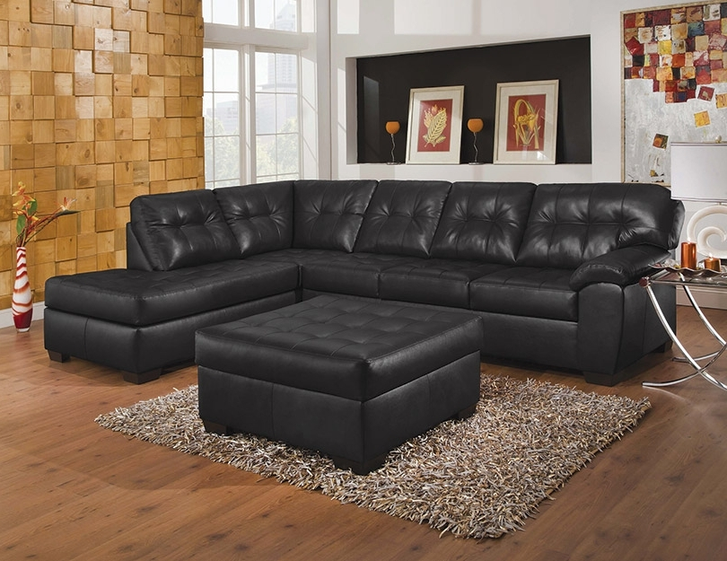 Well Known Simmons Upholstery Showtime Shi Soho Black Onyx Sectional Sofa With Black Leather Sectionals With Ottoman (View 8 of 10)