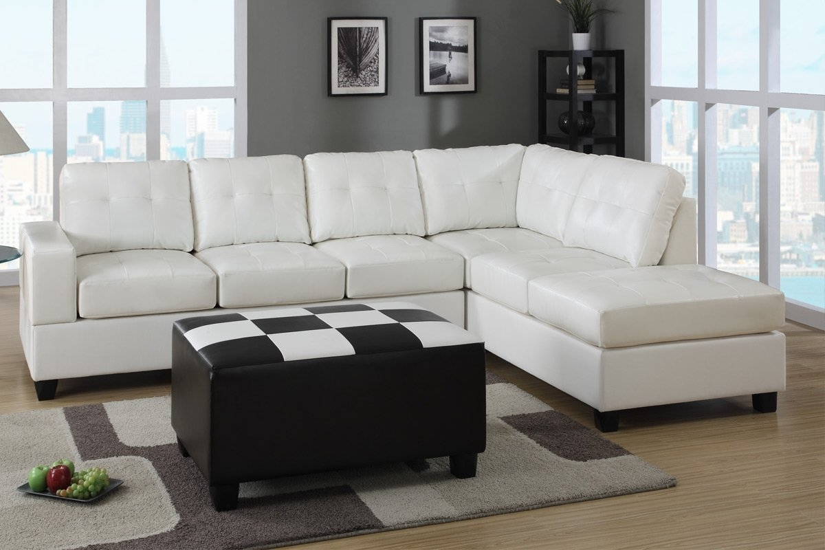 Well Known Sleeper Sectionals With Chaise Regarding White Leather Sectional Sleeper Sofa With Left Chaise And Tufted (View 12 of 15)