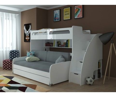 Well Known Sofa Bunk Beds Throughout Mondo – Twin Bunk Bed With Sofa, Table And Trundle (View 10 of 10)