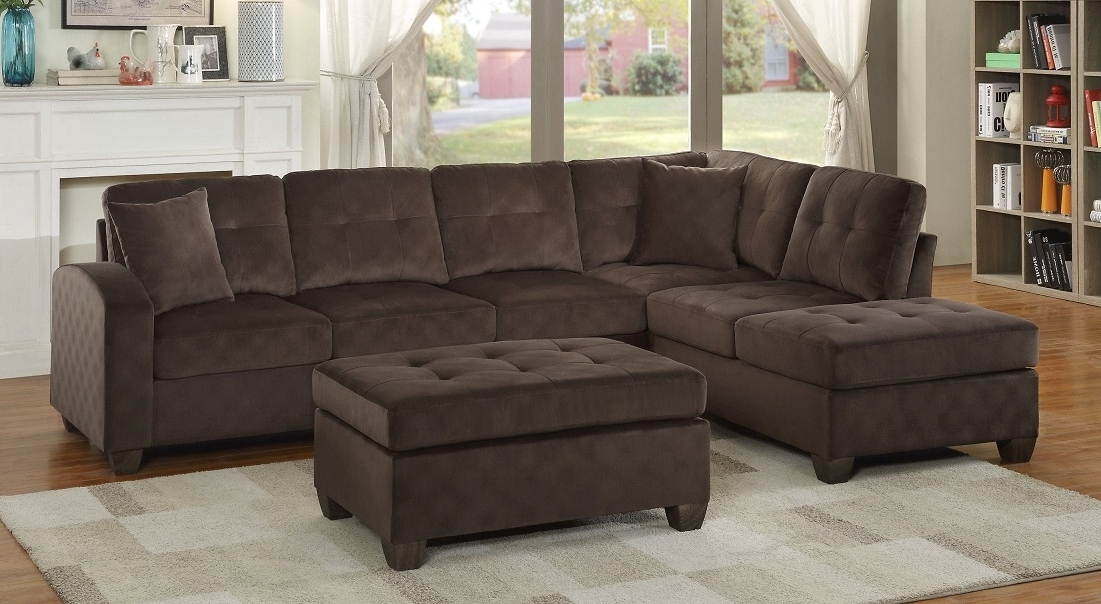 Well Known Sofas With Chaise And Ottoman Regarding Emilio Chocolate Sofa Chaise Sectional (View 10 of 10)