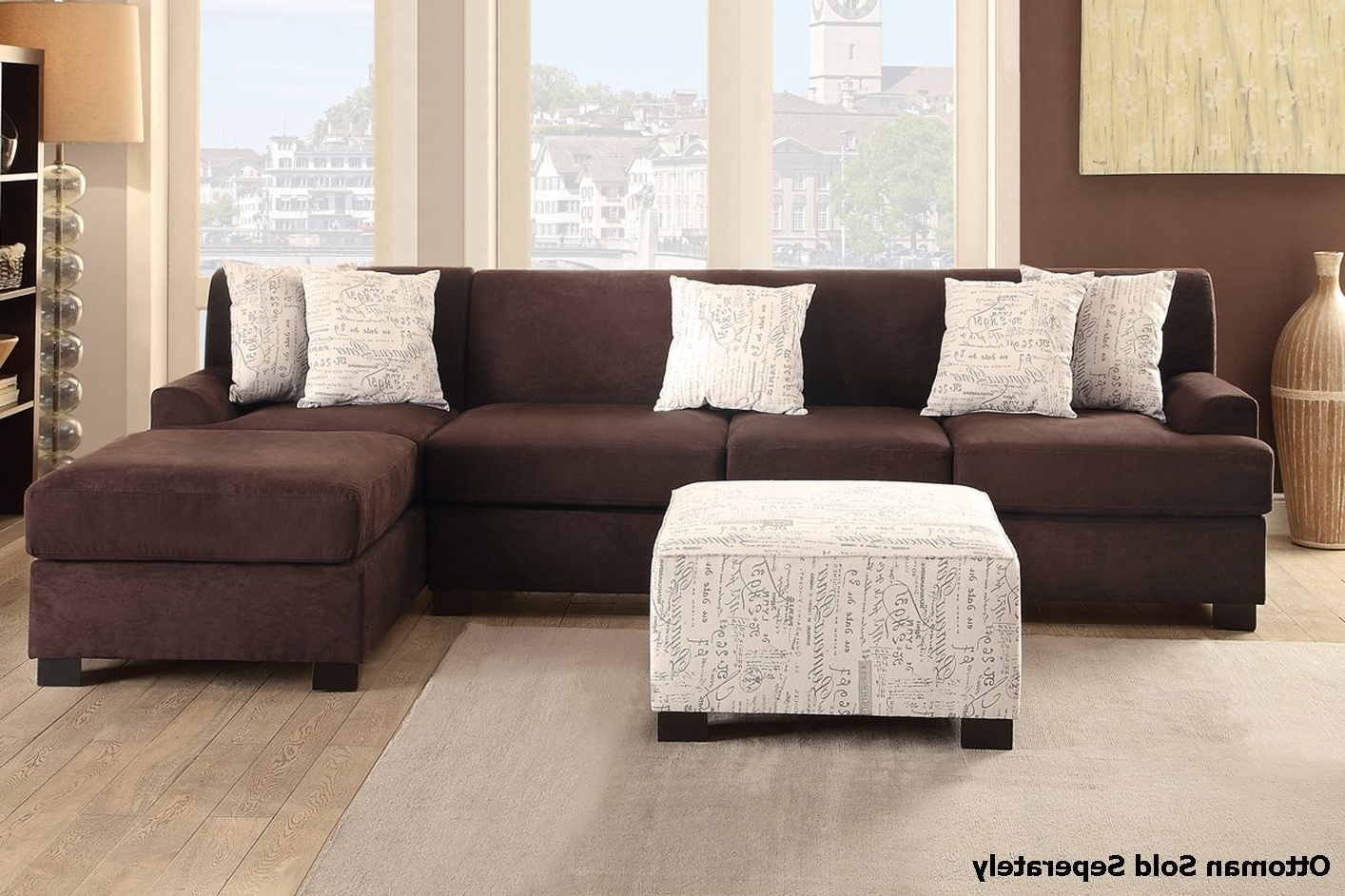 Well Known Sofas With Reversible Chaise Lounge With Regard To Nia Brown Fabric Sectional Sofa – Steal A Sofa Furniture Outlet (View 14 of 15)