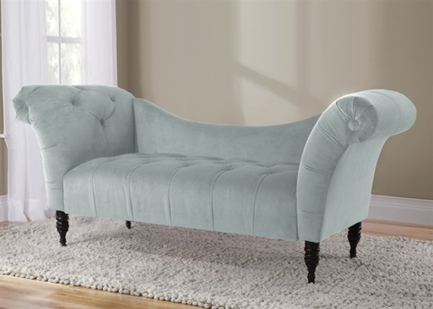 Well Known Tufted Chaise Lounges For Velvet Tufted Chaise Lounge – Poolskyline Furniture – Home (View 4 of 15)