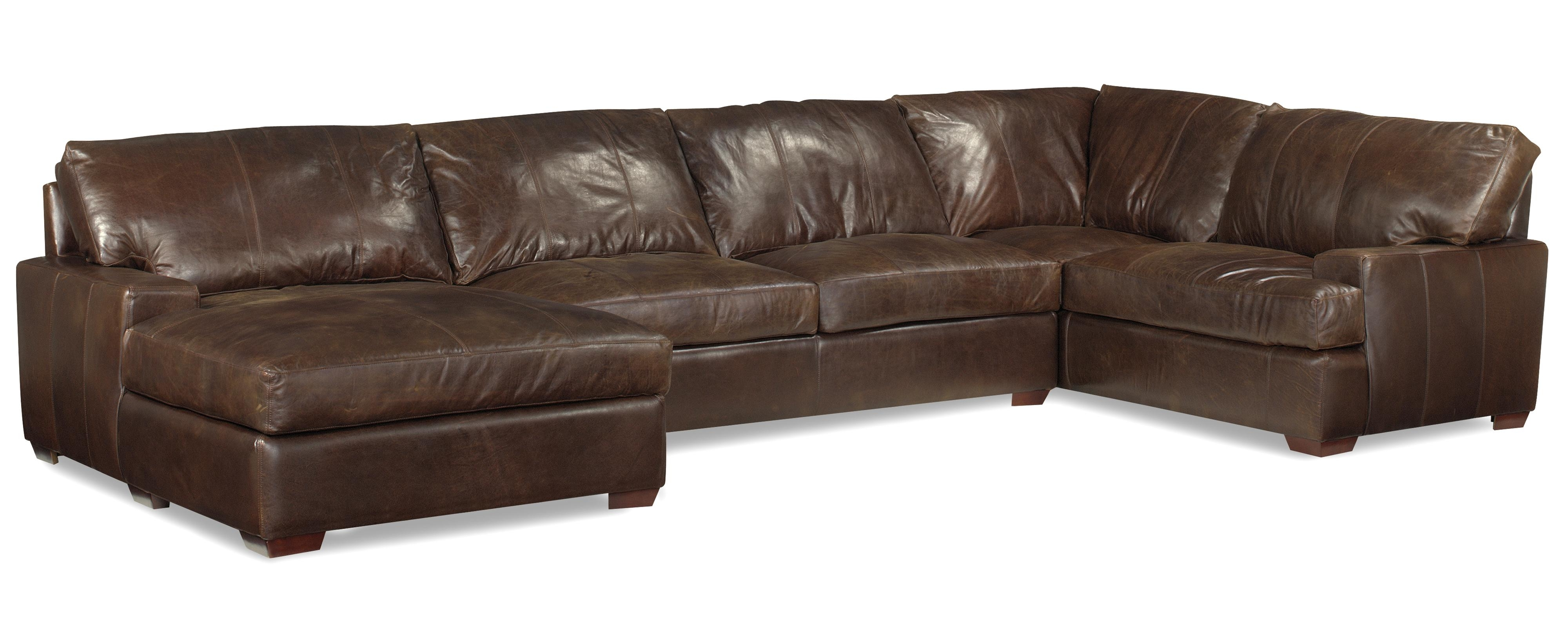Well Known Usa Premium Leather 3635 Track Arm Sofa Chaise Sectional W/ Block Inside Leather Chaise Sofas (View 9 of 15)