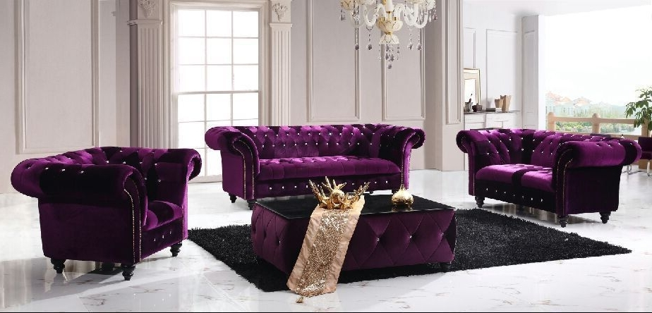 Well Known Velvet Purple Sofas In Victoria Chesterfield Boutique Crush Velvet 3 + 2 +1 Purple Sofa (View 10 of 10)