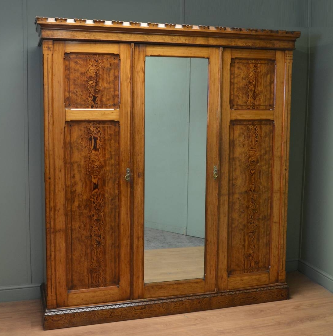 Well Known Victorian Pine Wardrobes Inside Arts & Crafts Pitch Pine Antique Victorian Triple Wardrobe (View 15 of 15)