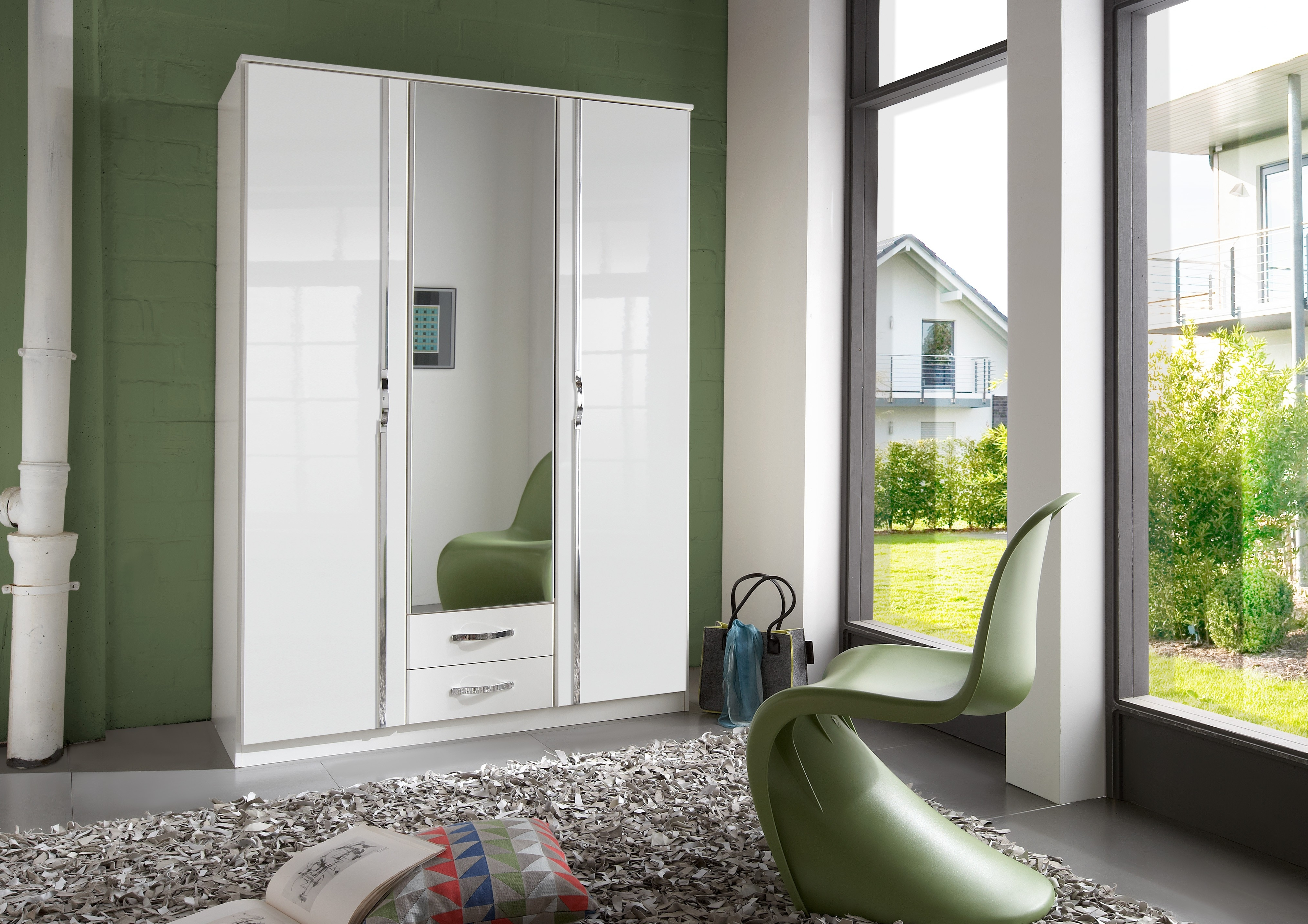 Well Known Wardrobes White Gloss With Regard To White Wardrobe With Mirror Amazon Drawers And Sliding Door Doors (View 11 of 15)