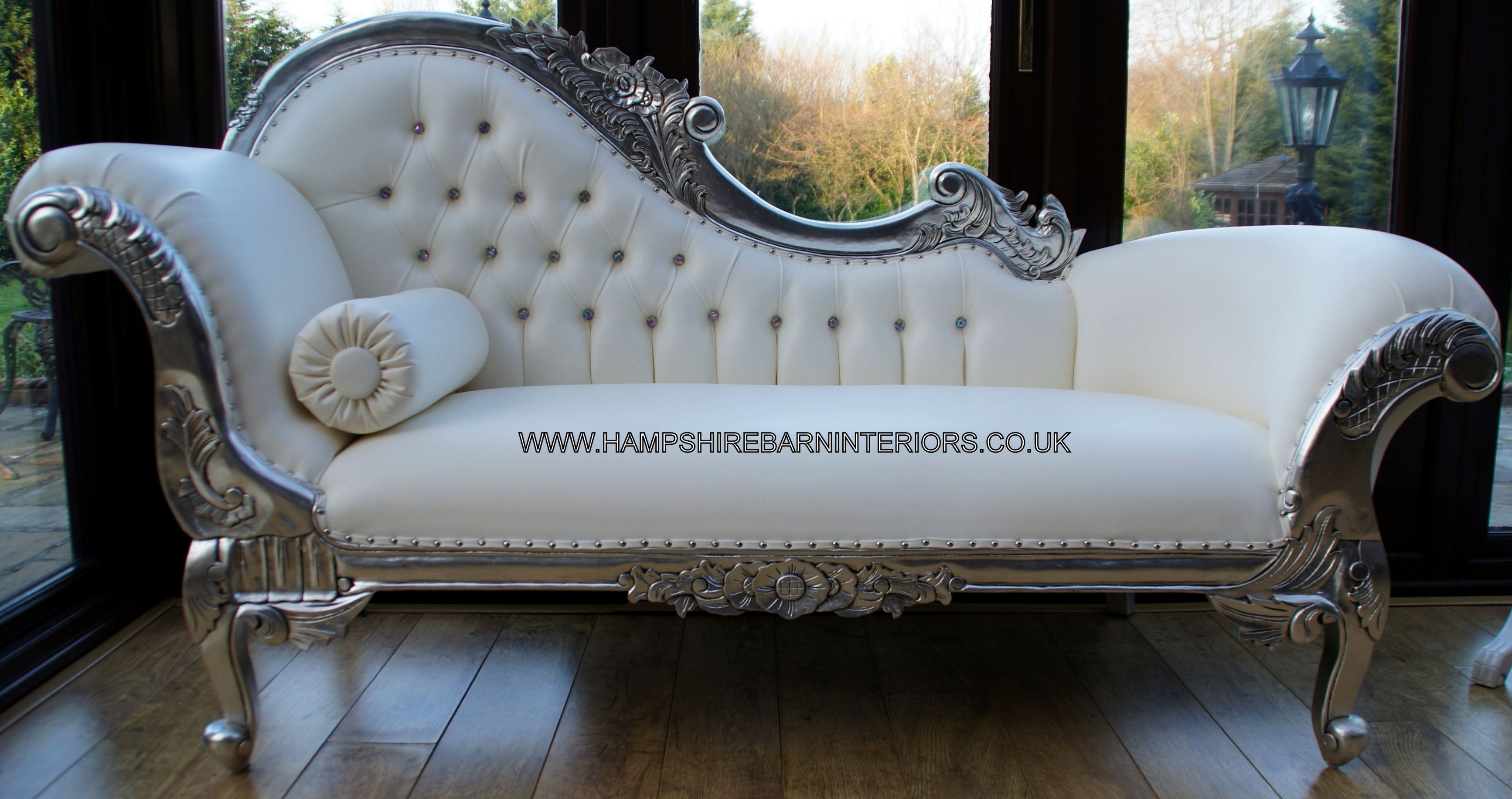 Well Known White Chaises Intended For Left Handed Silver Ornate Chaise White Faux Leather (Nice Lounge (View 5 of 15)