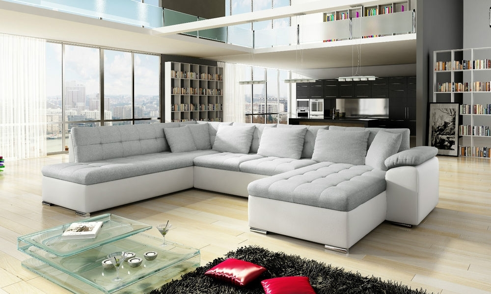Well Known White Leather Corner Sofas Throughout Scafati Fabric & Leather Corner Sofa, Bed, Black Grey White (View 9 of 10)