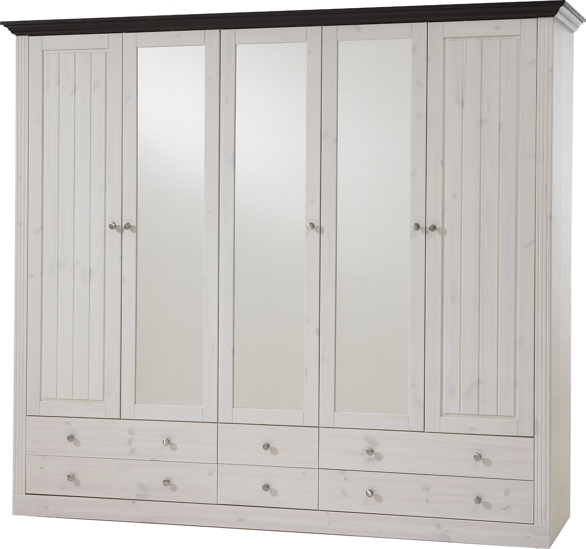 Well Known Whitewash Wardrobes With Regard To Monaco 2 3 Glazed Door 4 2 Drawer Wardrobe Whitewash Dark Stain Finish (View 11 of 15)