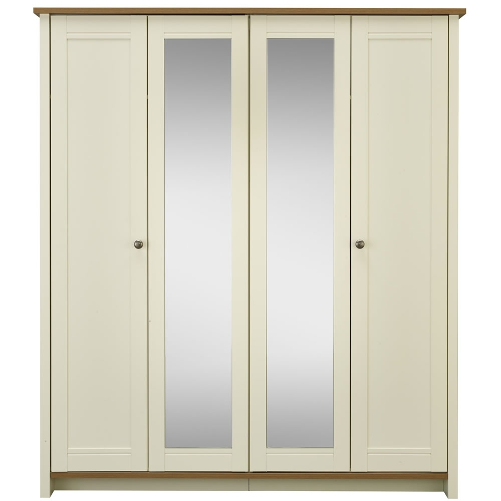 Well Liked 4 Door Mirrored Wardrobes Intended For Clovelly 4 Door Centre Mirror Wardrobe Vanilla Andrustic Oak (View 14 of 15)