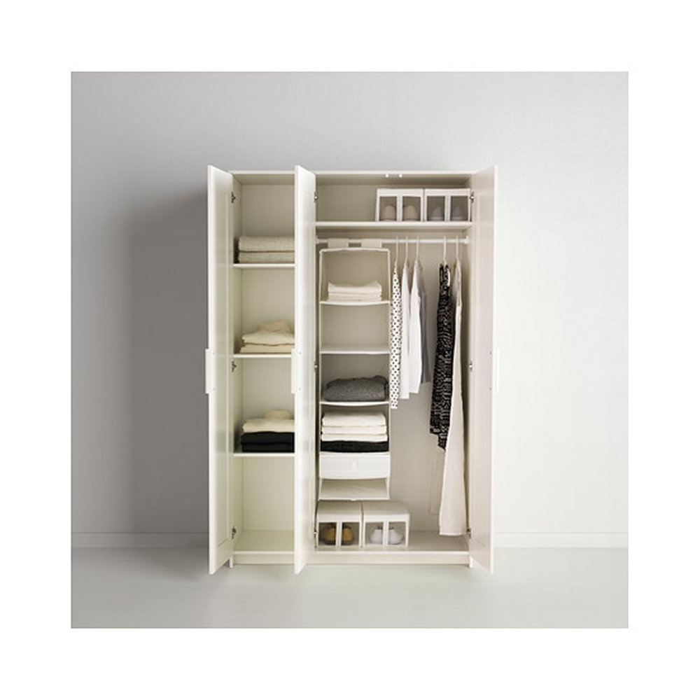 Well Liked Amazon: Brimnes Home Bedroom Wardrobeswardrobe With 3 Doors Intended For Triple Door Wardrobes (View 9 of 15)