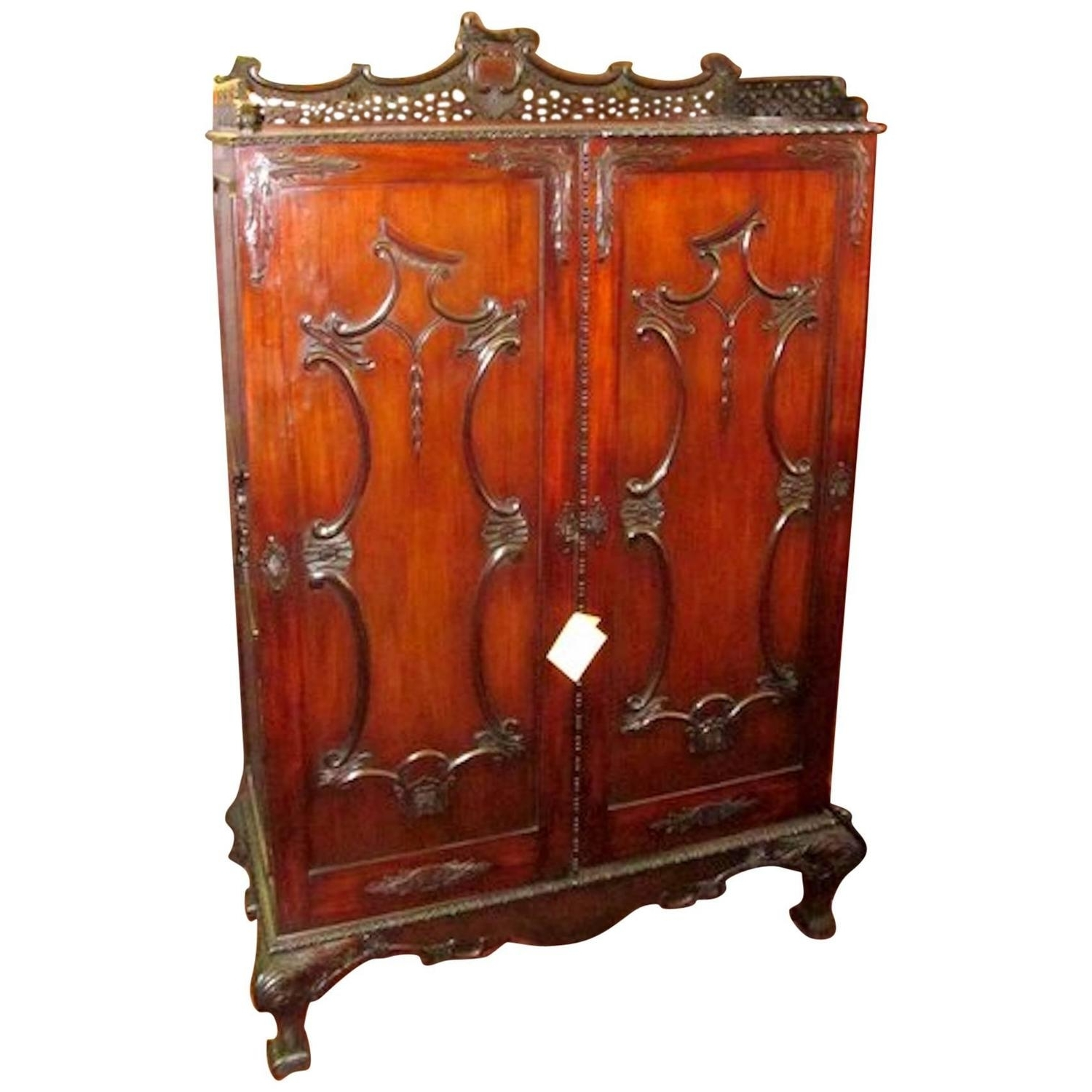 "Well Liked Antique Wardrobes In Antique English ""period Chippendale Design"" Two Door Wardrobe Or (View 13 of 15)"