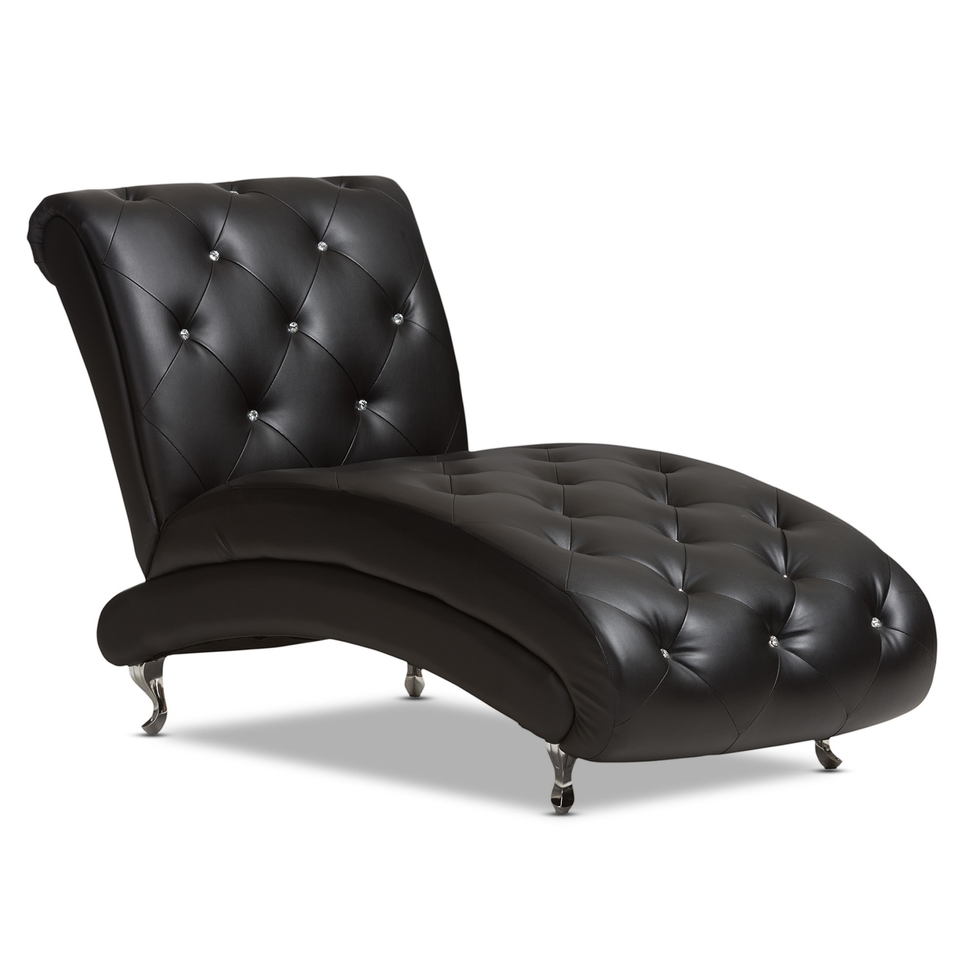 Well Liked Baxton Studio Pease Contemporary Black Faux Leather Crystal Tufted In Black Chaise Lounges (View 5 of 15)