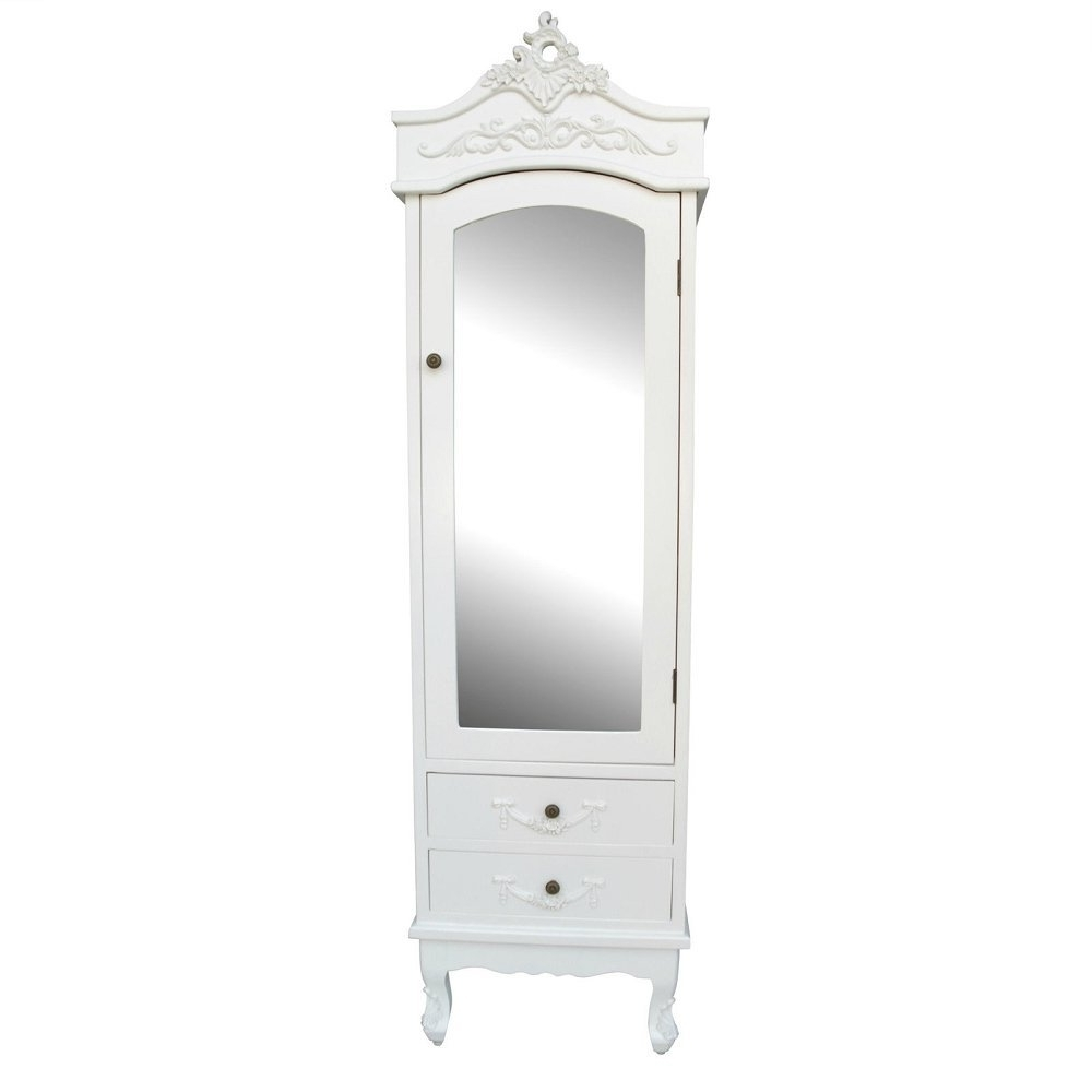 Well Liked Cream French Wardrobes With Regard To French Cream Chateau Single Armoire With Full Mirror Door Shabby (View 13 of 15)