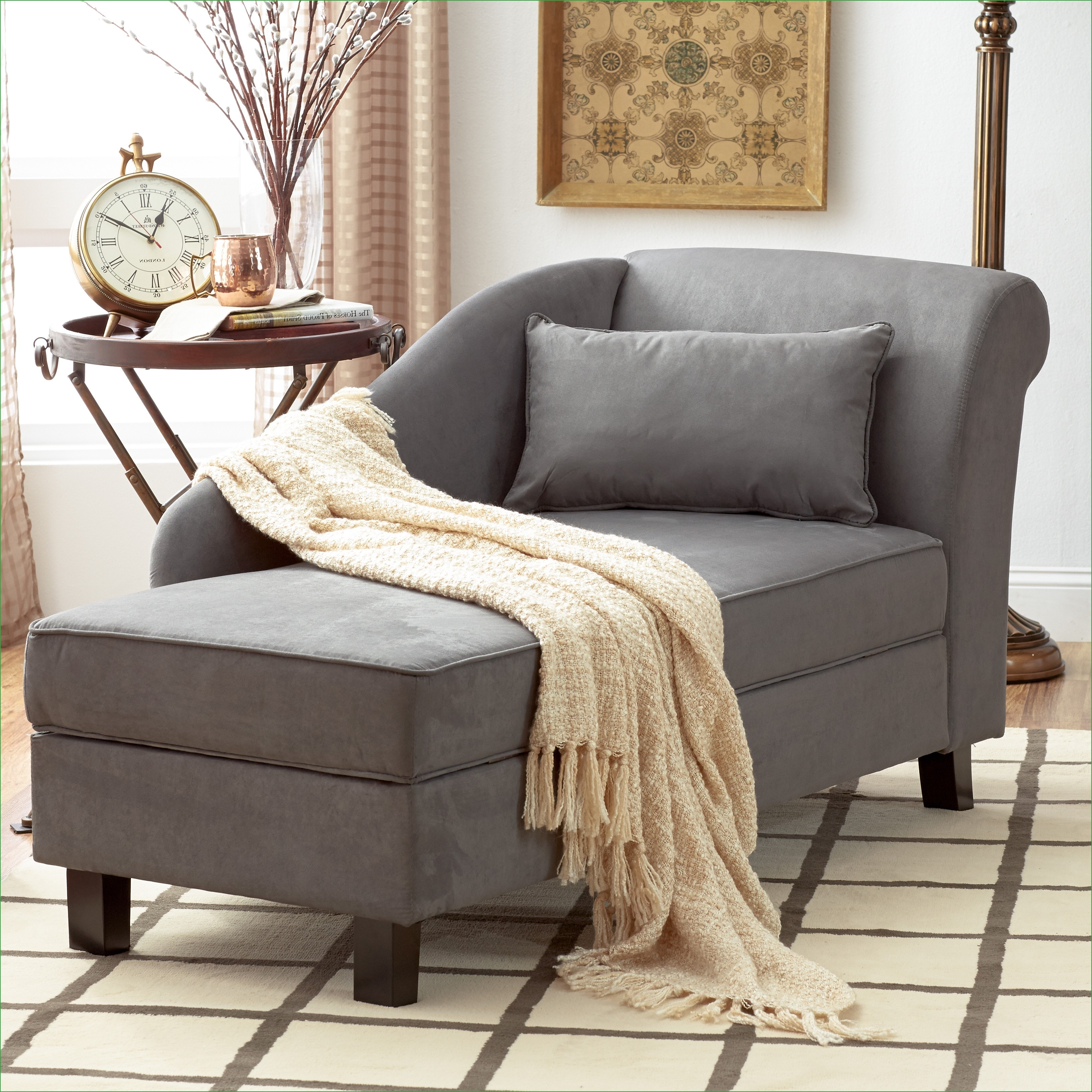 Well Liked Double Chaise Lounges For Living Room With Convertible Chair : Living Room Tufted Chaise Lounge Chair Gray (View 9 of 15)
