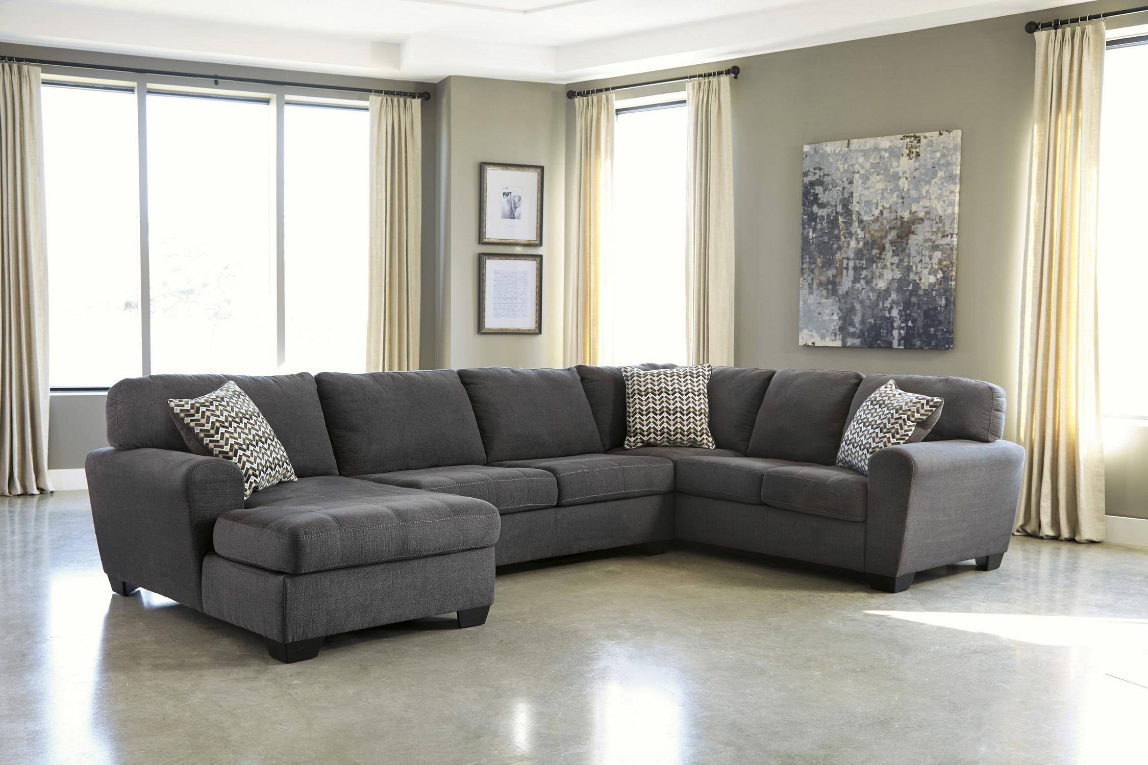 Well Liked Gray Sectional Sofas With Chaise In Alenya 3 Piece Sectional Quartz Fabric Reclining Sectional Grey (View 7 of 15)