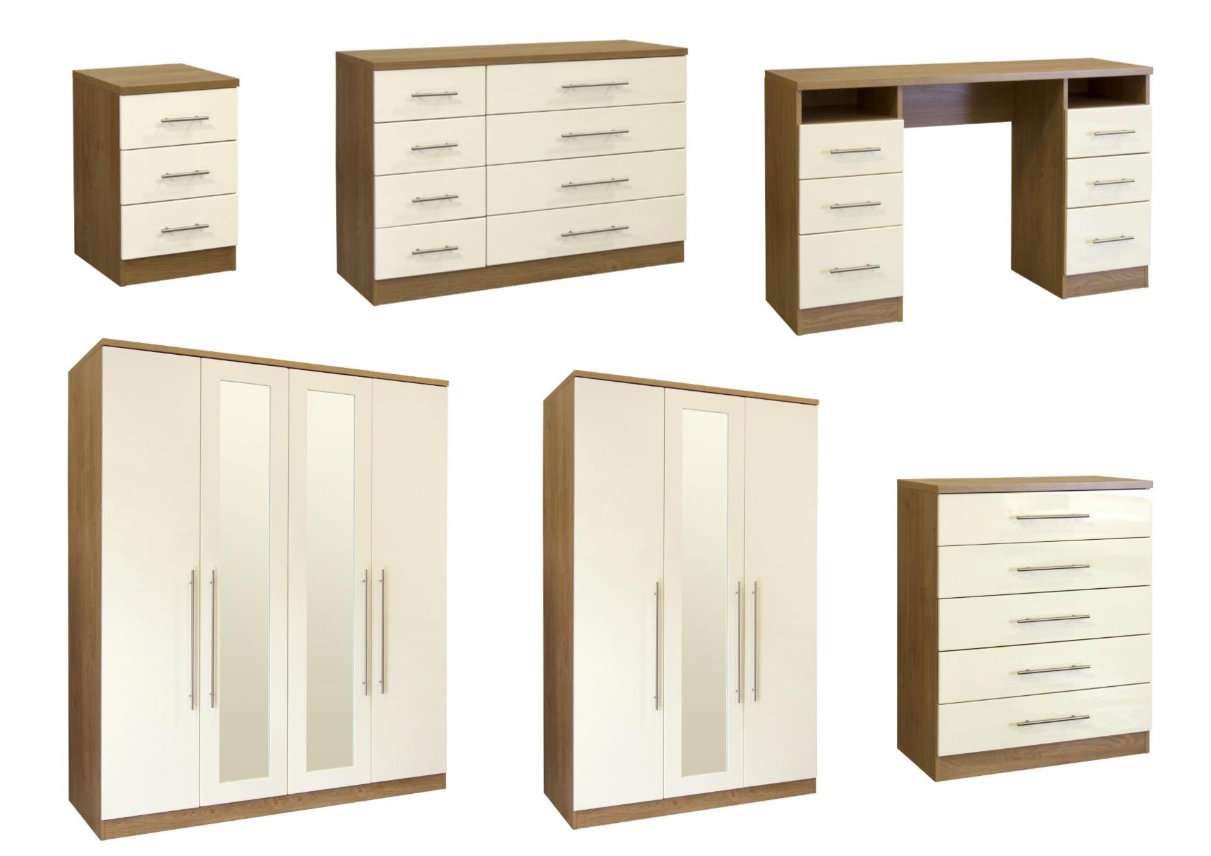 Well Liked Keswick High Gloss Cream & Oak Bedroom Furniture – Wardrobe Regarding Cream Gloss Wardrobes (View 15 of 15)
