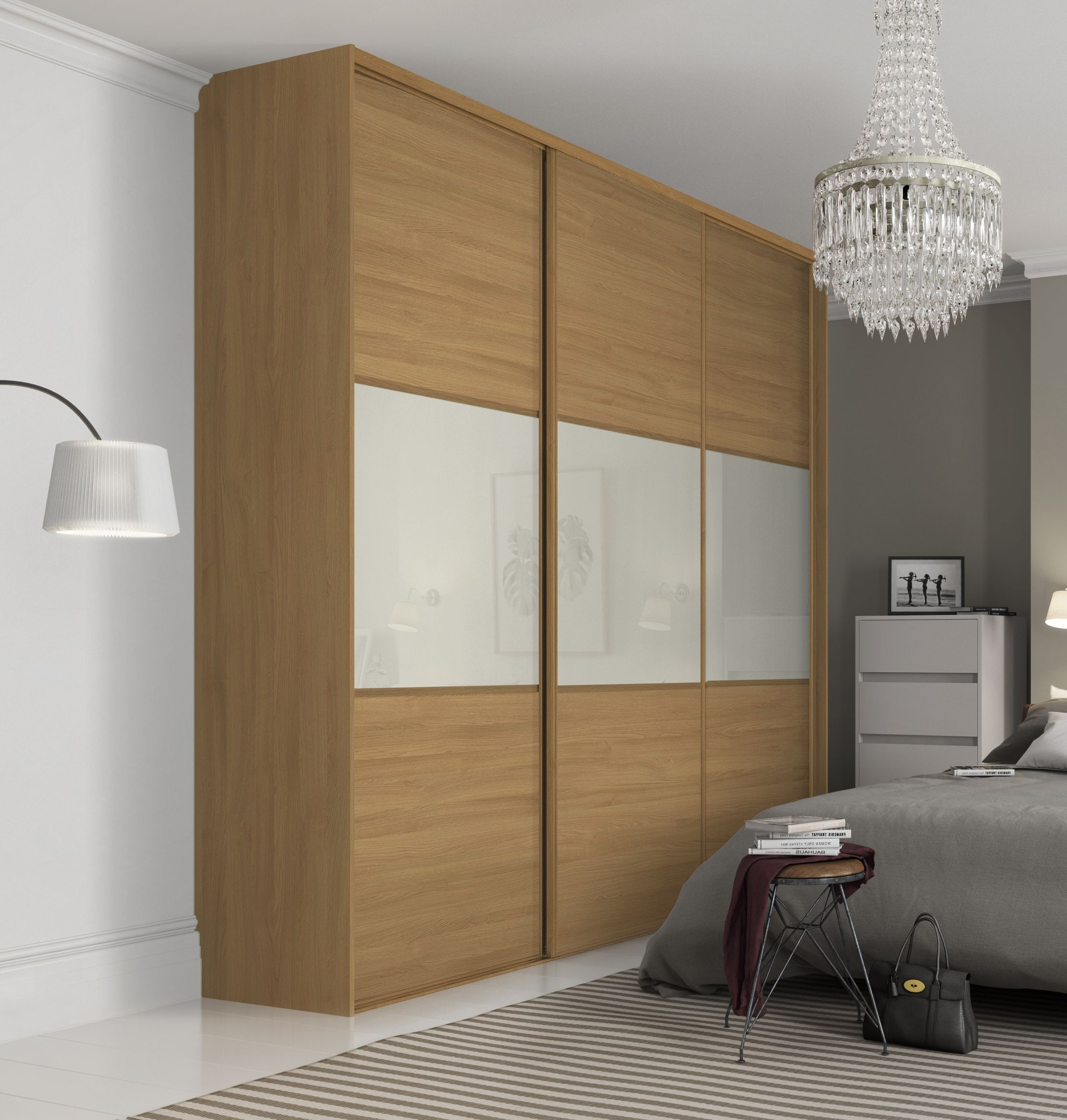 Well Liked Oak And White Wardrobes In Beautiful, Classic Three Panel Sliding Wardrobe Doors In Oak And (View 8 of 15)