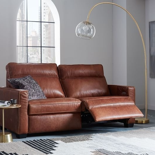 "Well Liked Recliner Sofas Inside Henry® Leather Power Recliner Sofa (77"") (View 5 of 10)"