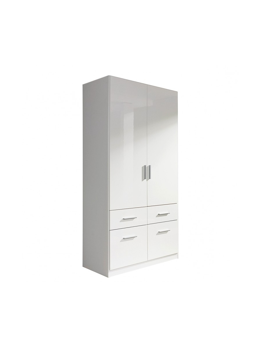 White 2 Door Wardrobes With Drawers Intended For Famous Celle 2 Door 4 Drawer Combi Wardrobe – Rauch Furniture (View 11 of 15)