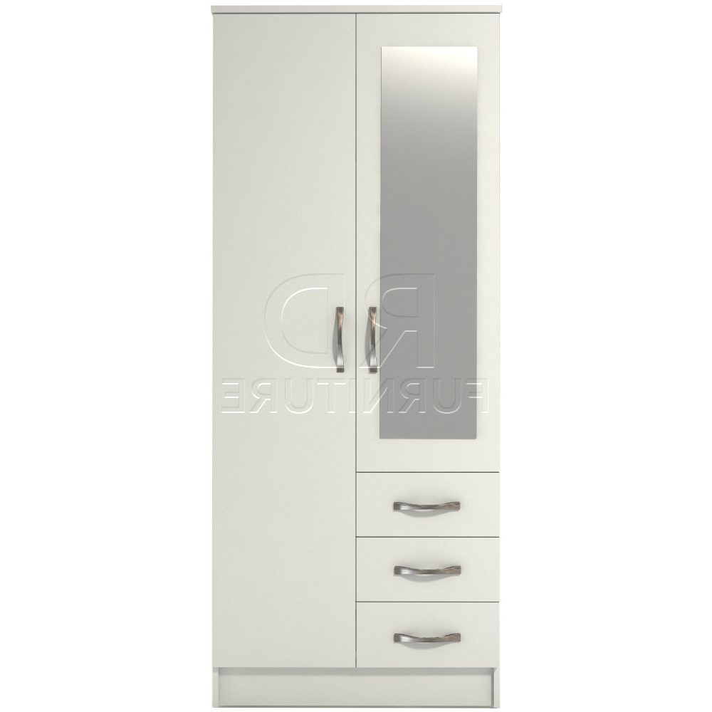 White 2 Door Wardrobes With Drawers Regarding Best And Newest Classic 2 Door 3 Drawer Combi Short Mirrored Wardrobe White Finish (View 15 of 15)