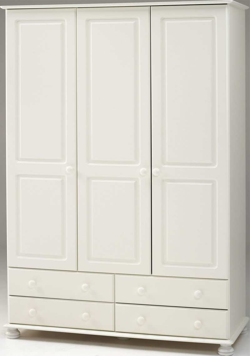 White 3 Door Wardrobe – 4 Drawers – Steens Richmond In Recent 4 Door White Wardrobes (View 13 of 15)