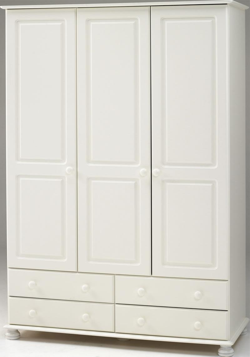 White 3 Door Wardrobes Throughout Preferred White 3 Door Wardrobe – 4 Drawers – Steens Richmond (View 2 of 15)