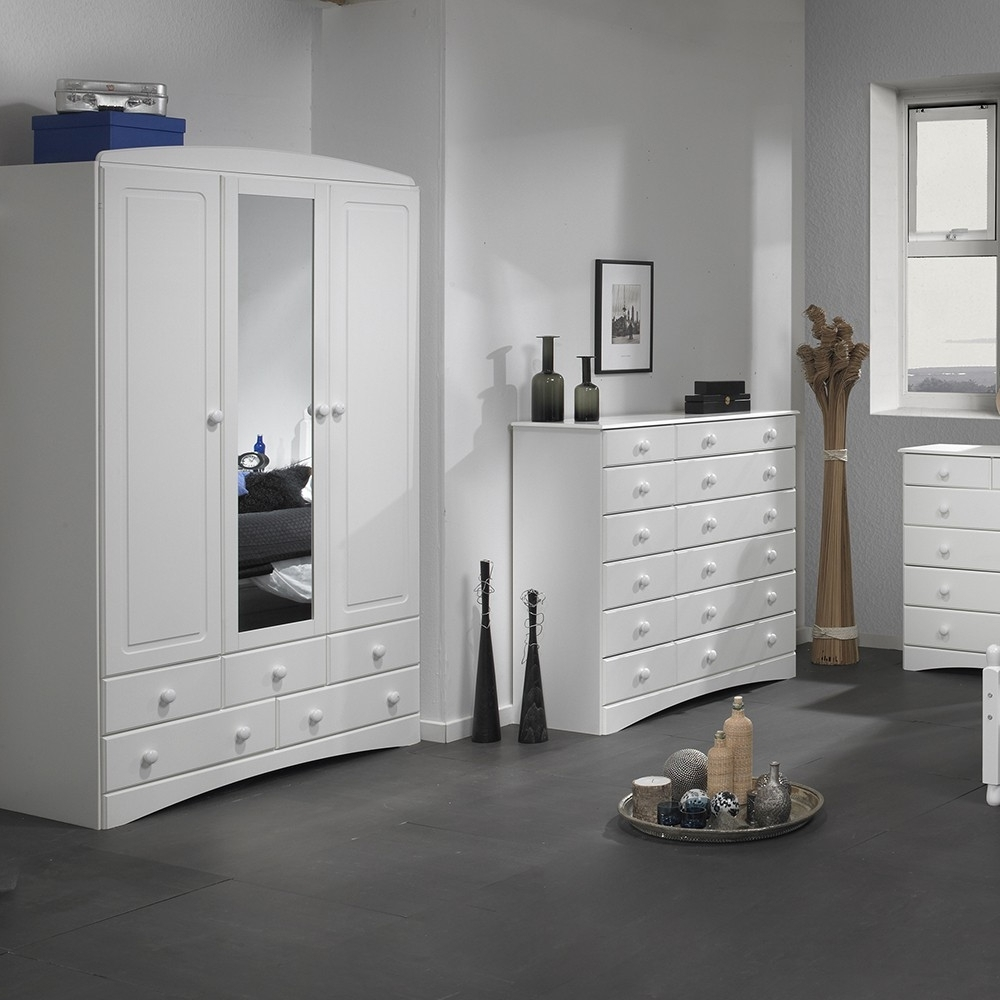 White 3 Door Wardrobes With Mirror Inside Current Scandi 3 Door 5 Drawer Wardrobe With Mirror In White (View 5 of 15)