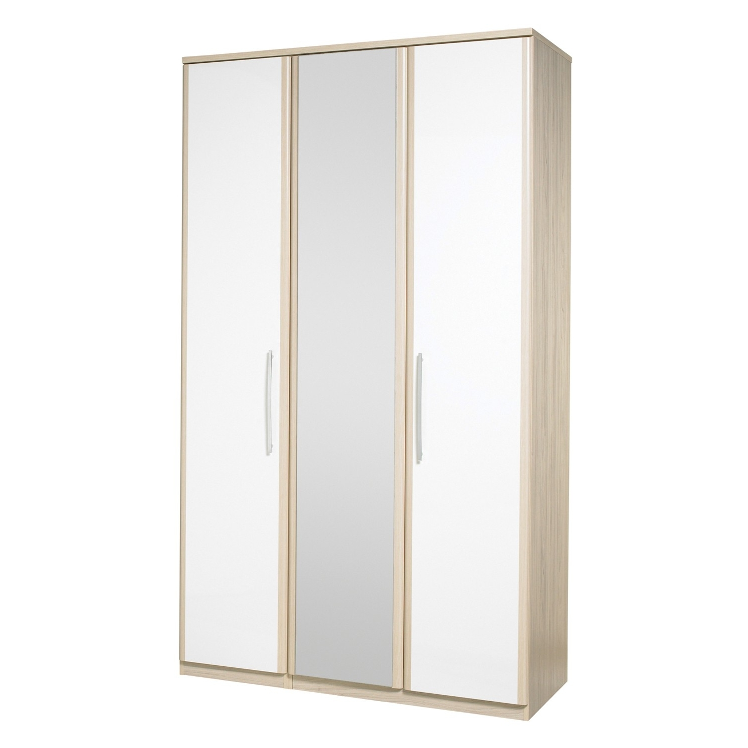 White 3 Door Wardrobes With Mirror Pertaining To Most Up To Date White 3 Door Wardrobe With Drawers And Mirror Armoire Corner (View 2 of 15)