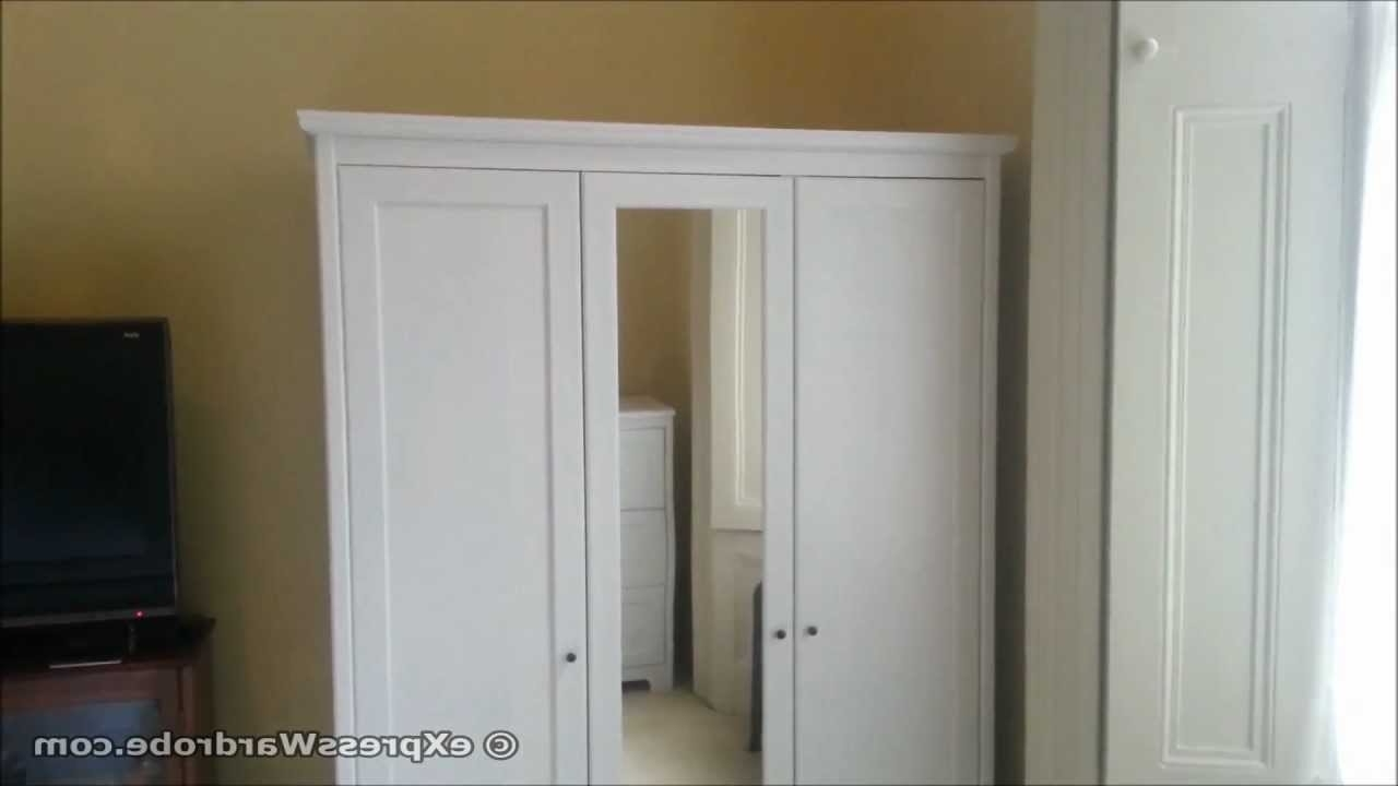 White 3 Door Wardrobes With Mirror Throughout 2017 Ikea Apelund 3 Door Wardrobe Design – Youtube (View 6 of 15)