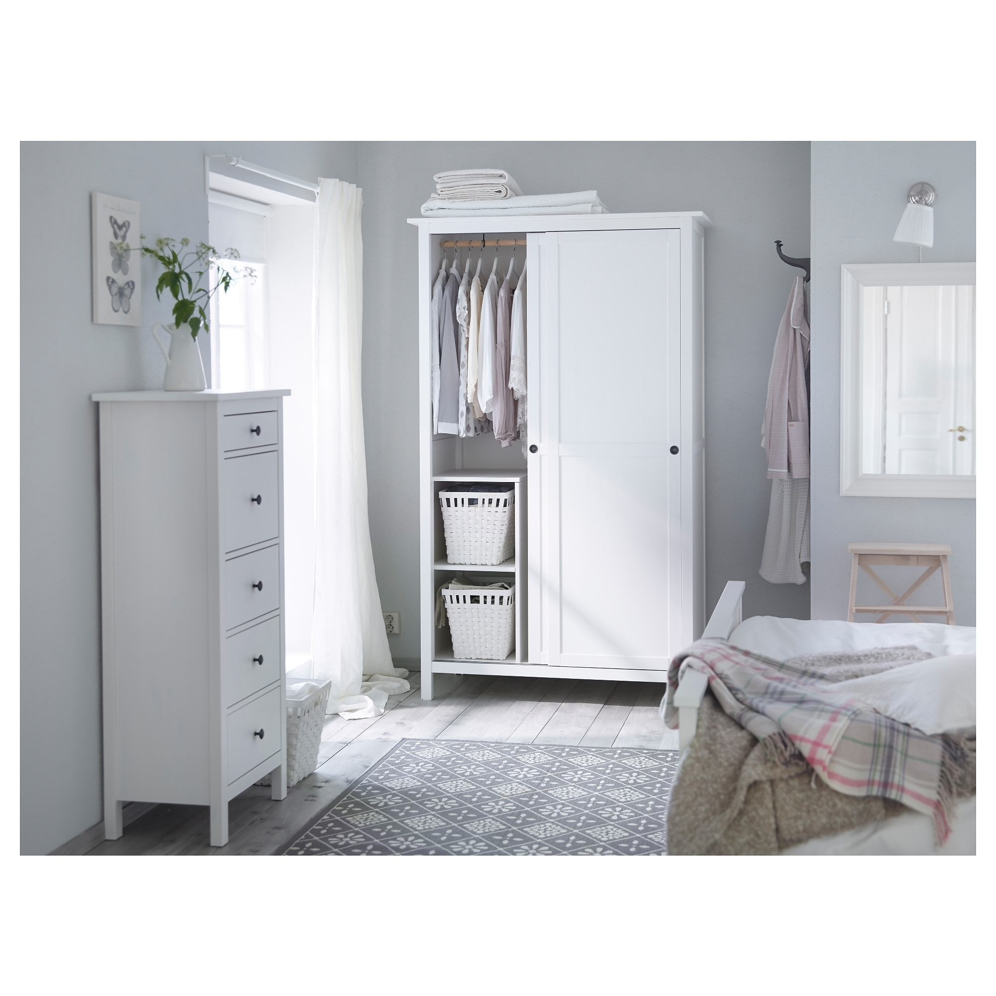 White Bedroom Wardrobes Within Recent Hemnes Chest Of 5 Drawers White Stain 58X131 Cm – Ikea (View 15 of 15)
