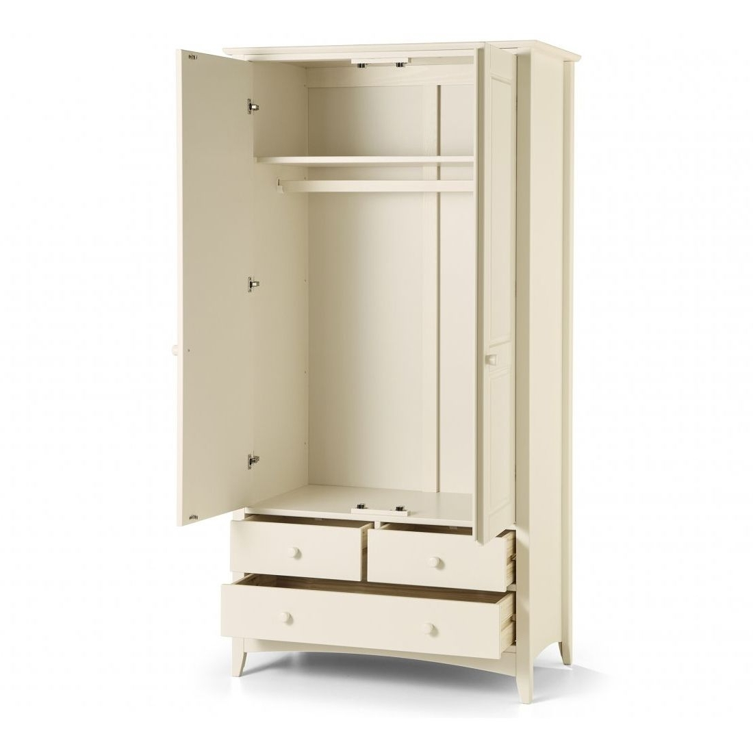 White Combination Wardrobe With 3 Drawers (View 15 of 15)