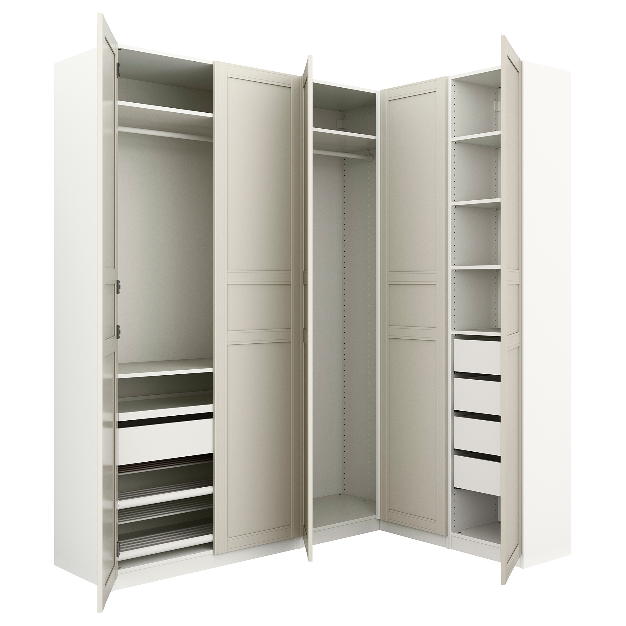 White Corner Wardrobes Units Regarding 2017 Pax Corner Wardrobe White/flisberget Light Beige 160/188X236 Cm – Ikea (View 15 of 15)