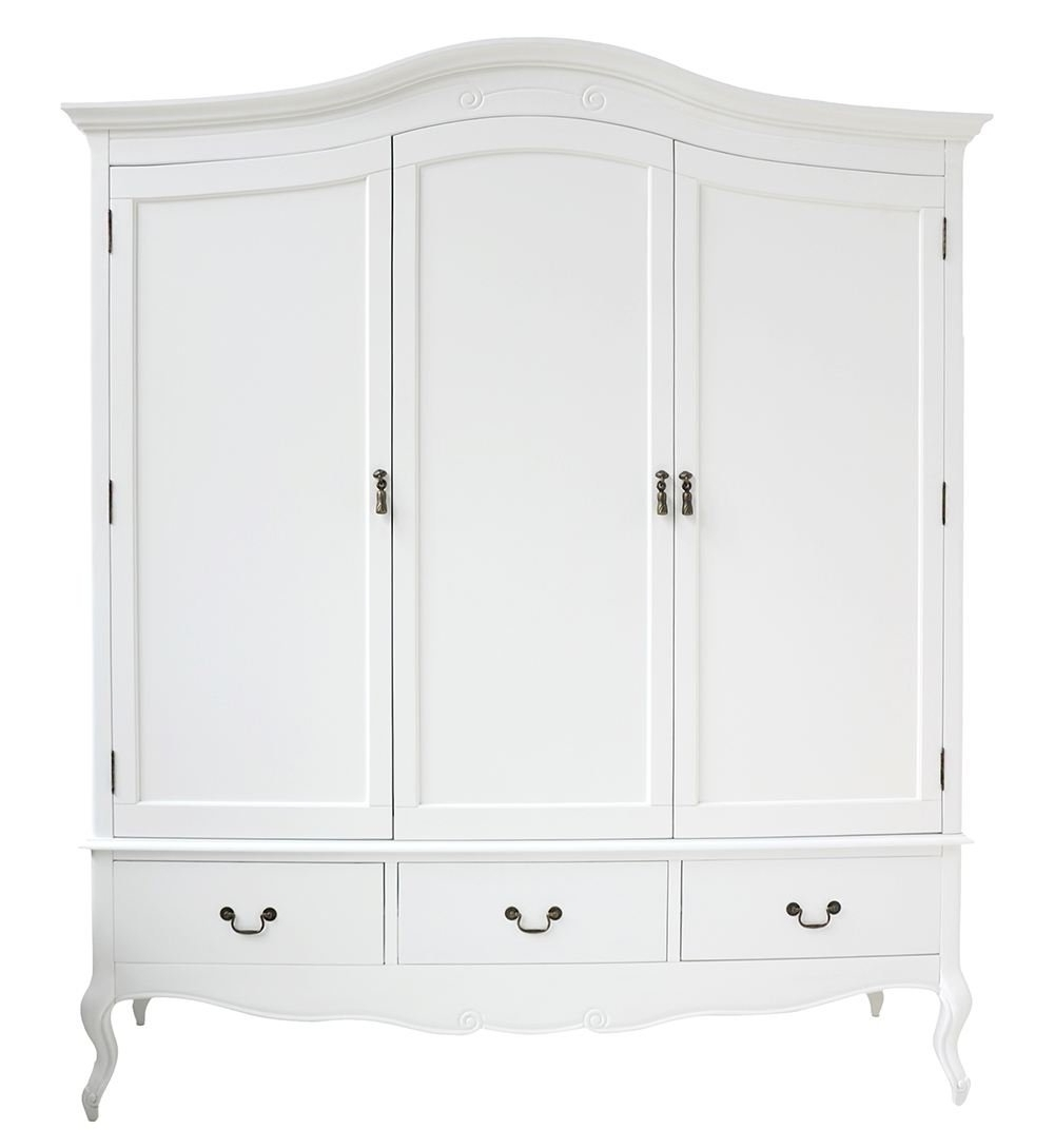 White Double Wardrobes Inside Most Recently Released Juliette Shabby Chic White Triple Wardrobe With Hanging Rails (View 12 of 15)