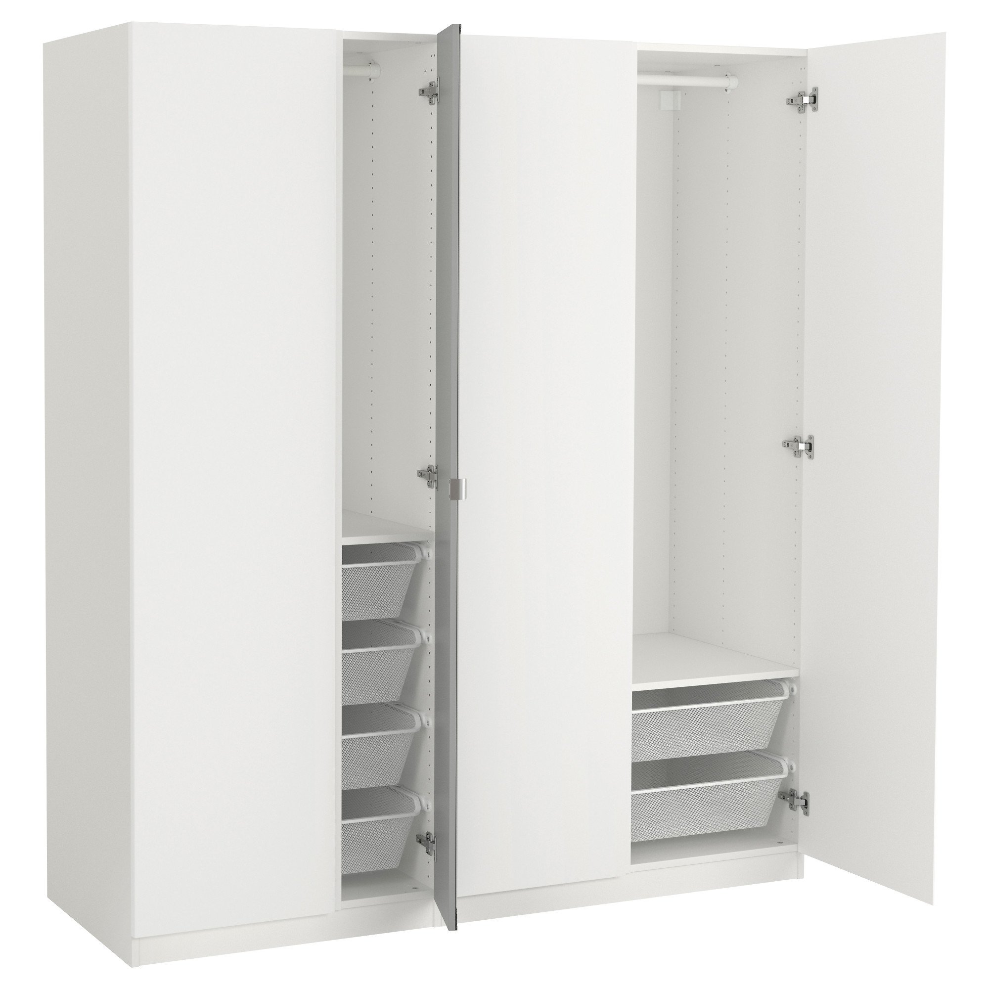 White Double Wardrobes Within Newest Nightstand : Exquisite Ikea Wardrobes Odda Wardrobe Low Drawers (View 15 of 15)