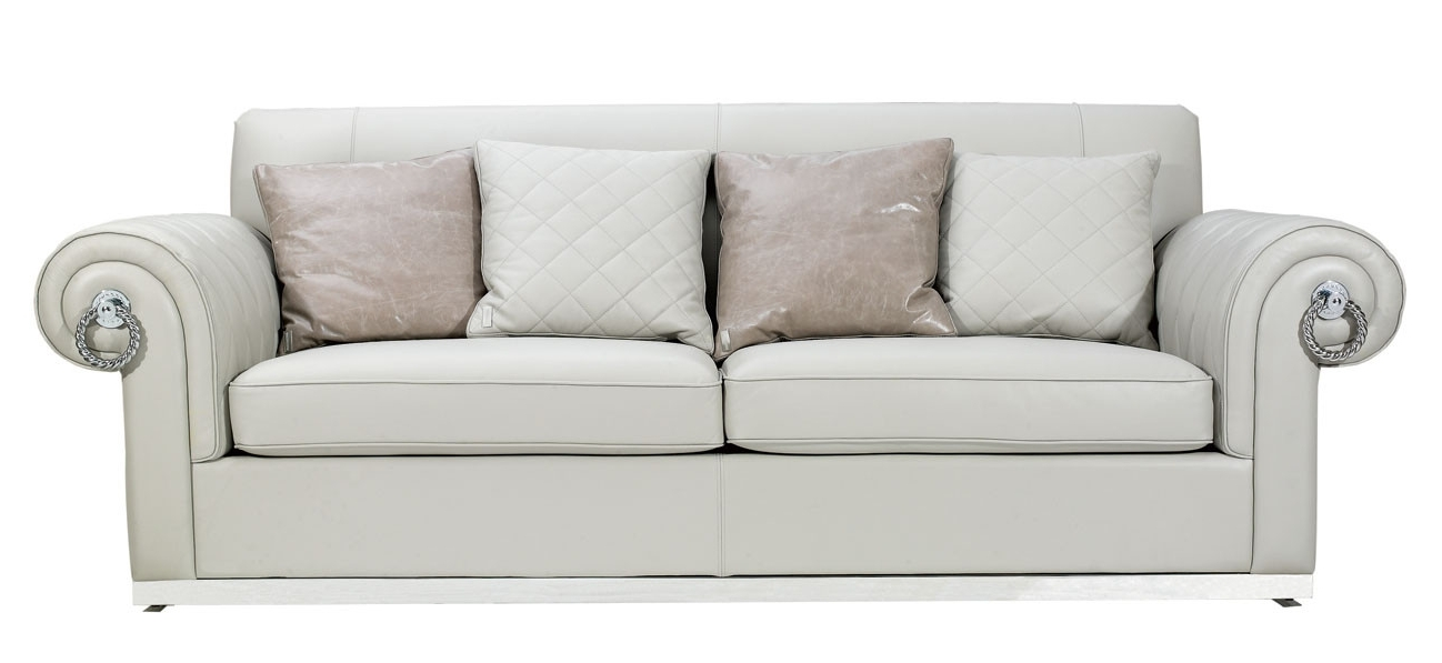 White Empire Style Leather Sofa For 2017 Off White Leather Sofas (View 6 of 10)