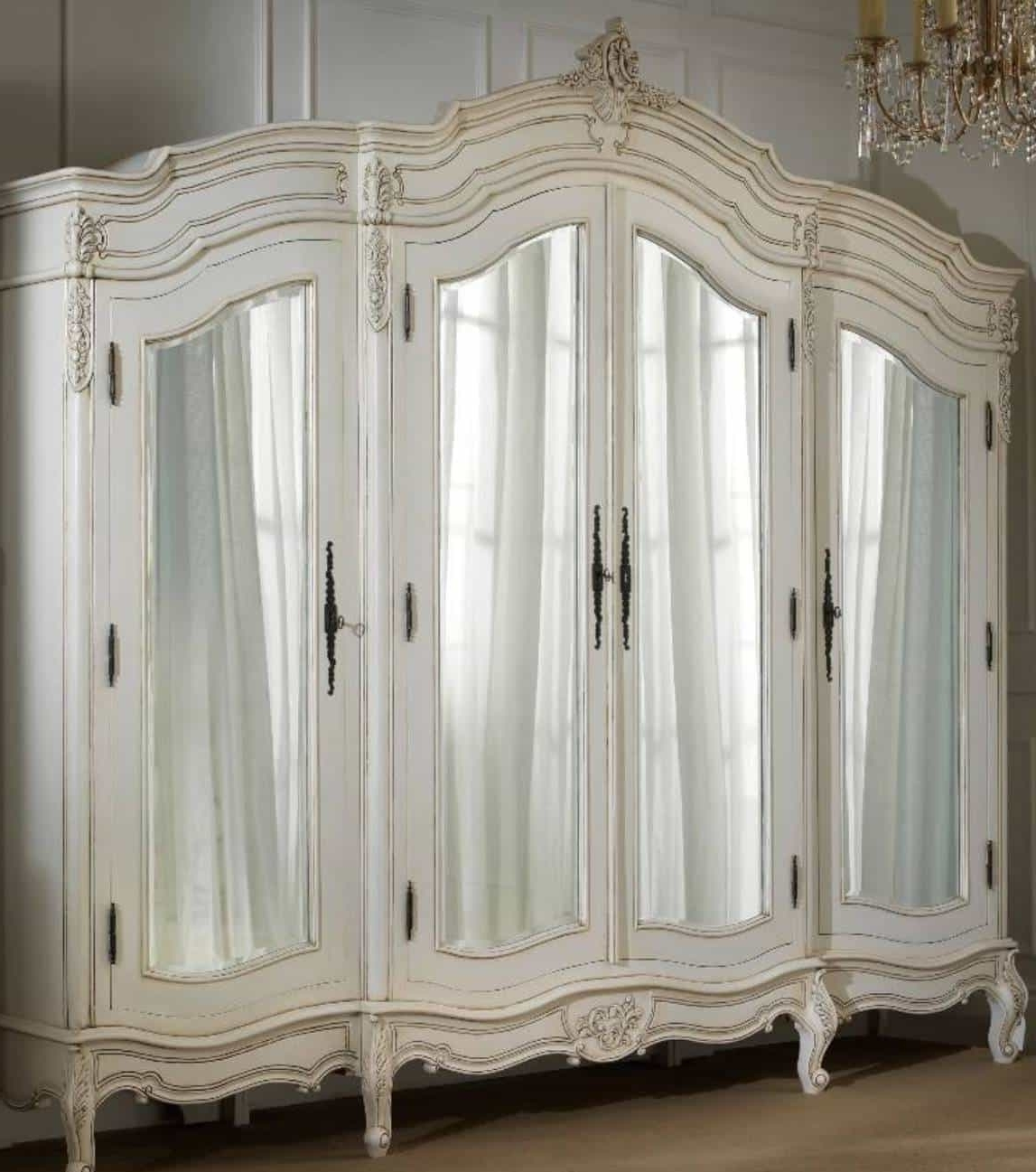 White French Armoire Wardrobe With Mirror : Beautiful French Within Most Popular White French Armoire Wardrobes (View 13 of 15)