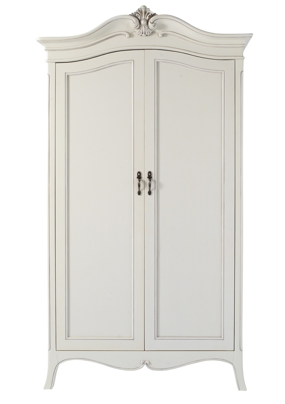 White French Style Wardrobes Pertaining To Favorite Louis French Ivory Painted 2 Door Double Wardrobe (View 8 of 15)