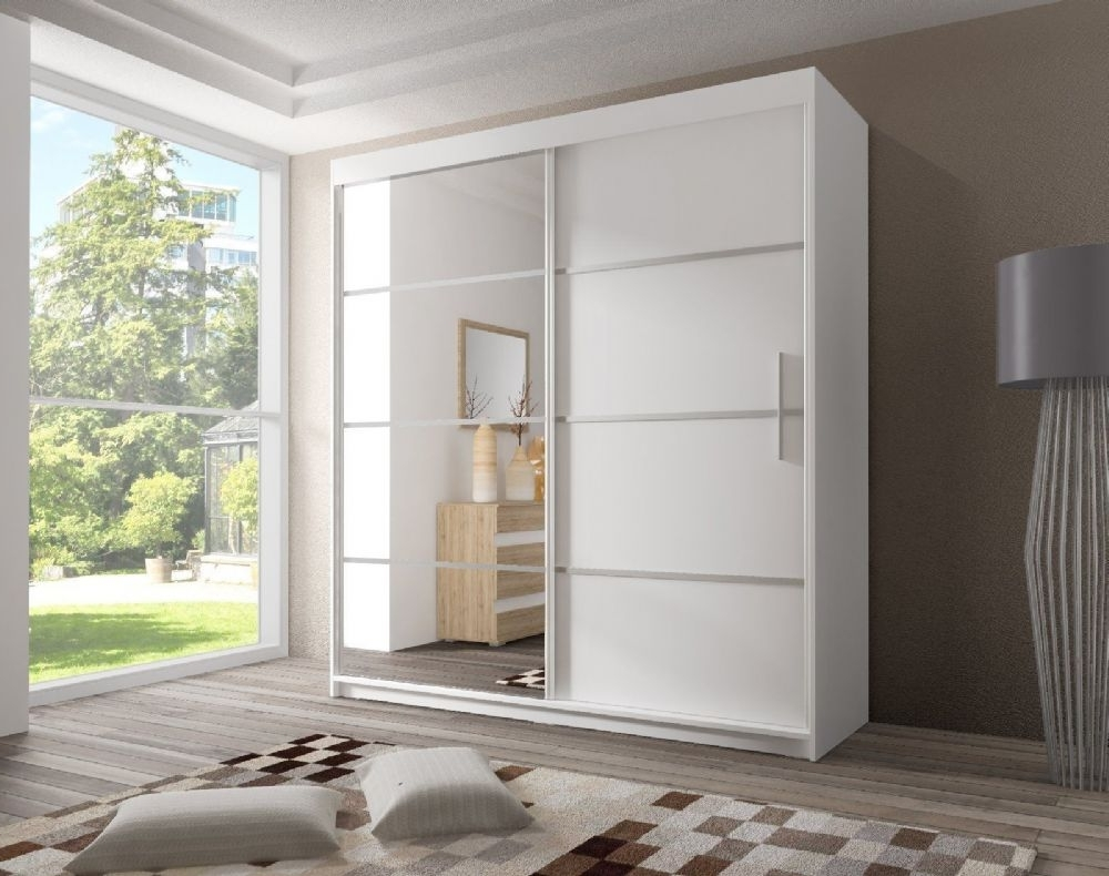White Gloss Mirrored Wardrobes Pertaining To Famous White Sliding Door Wardrobe With Mirror Doors Closet 3 Drawers And (View 11 of 15)