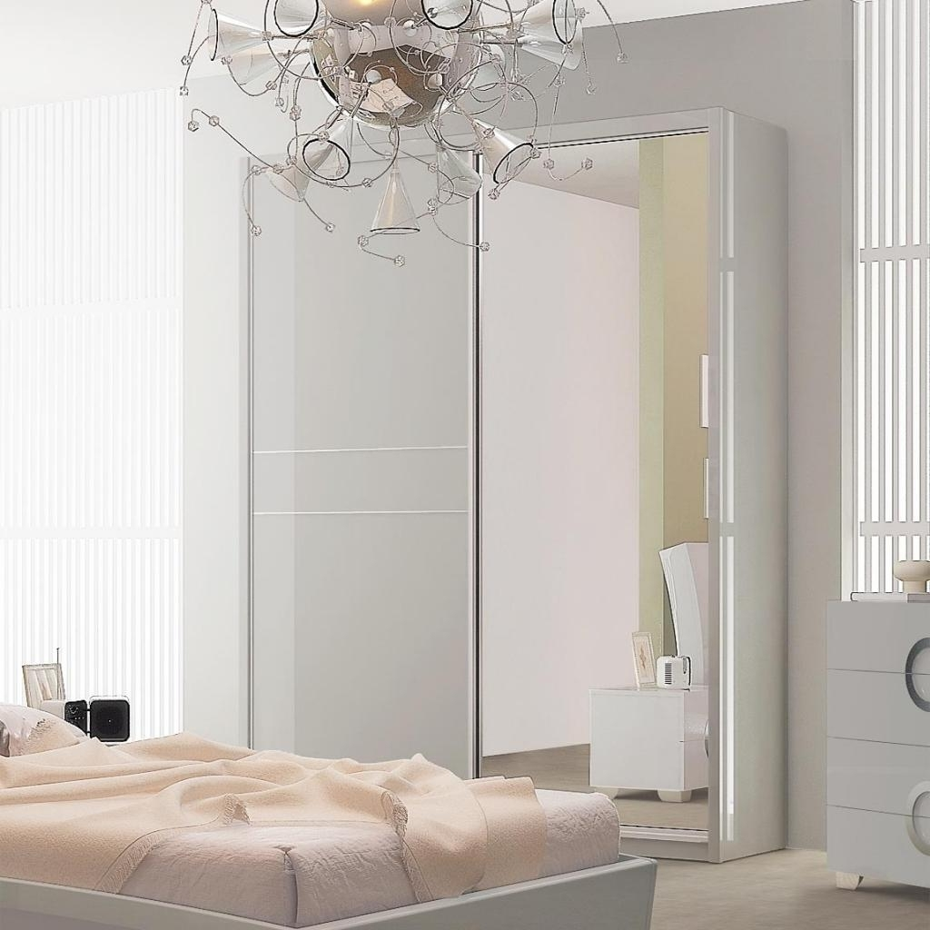 White Gloss Mirrored Wardrobes With Regard To Latest White Sliding Door Wardrobe With Mirror Doors Closet 3 Drawers And (View 14 of 15)