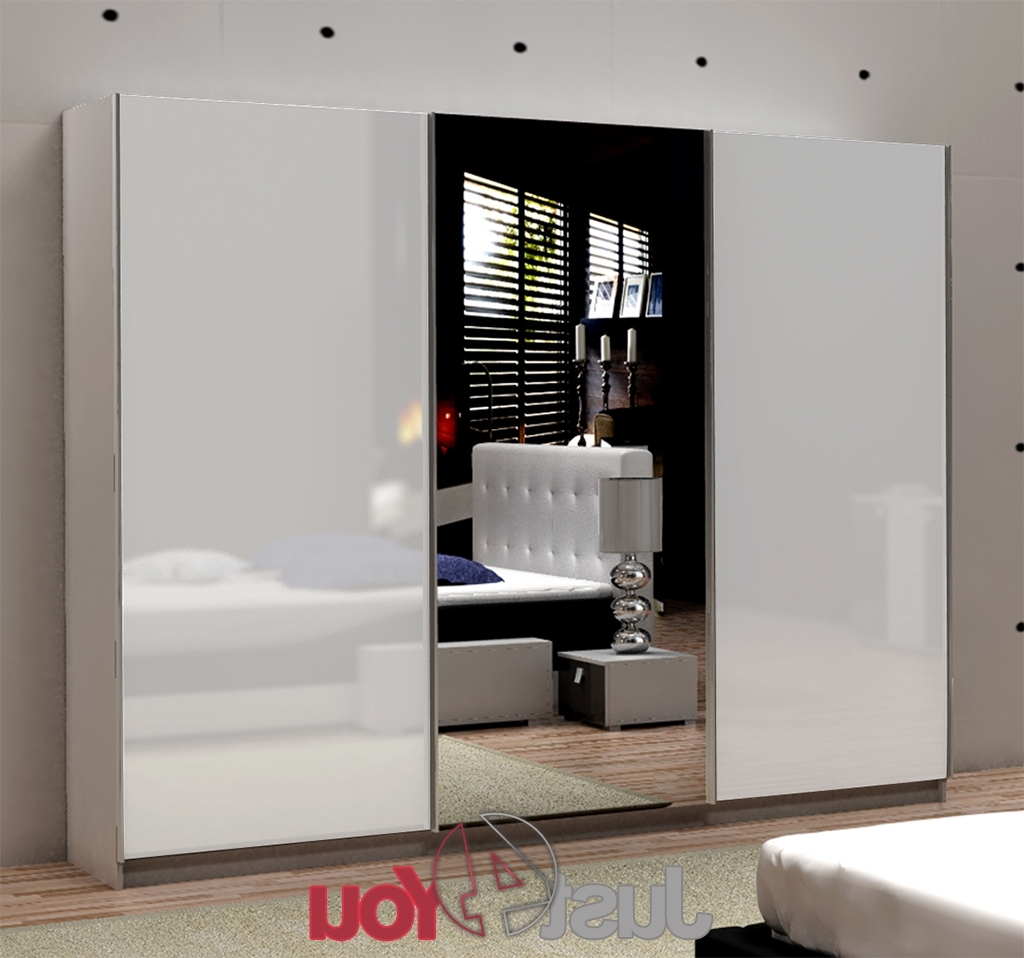 White Gloss Wardrobes Throughout Most Up To Date Wardrobe Fox With Mirror – Sliding Doors With High Gloss, Various (View 2 of 15)