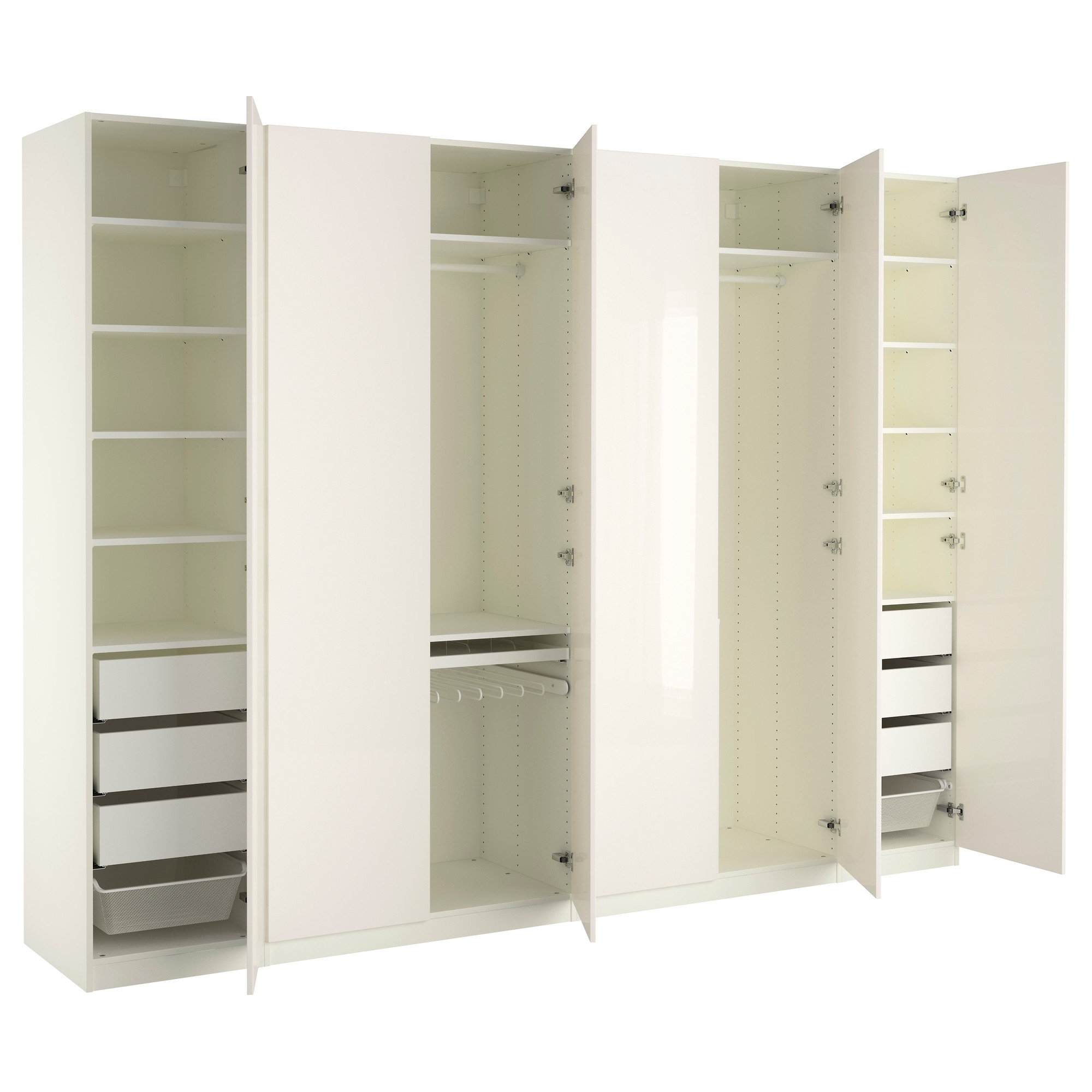 White High Gloss Wardrobes Pertaining To Most Recent Pax Wardrobe White/fardal High Gloss/white 300x60x236 Cm – Ikea (View 10 of 15)