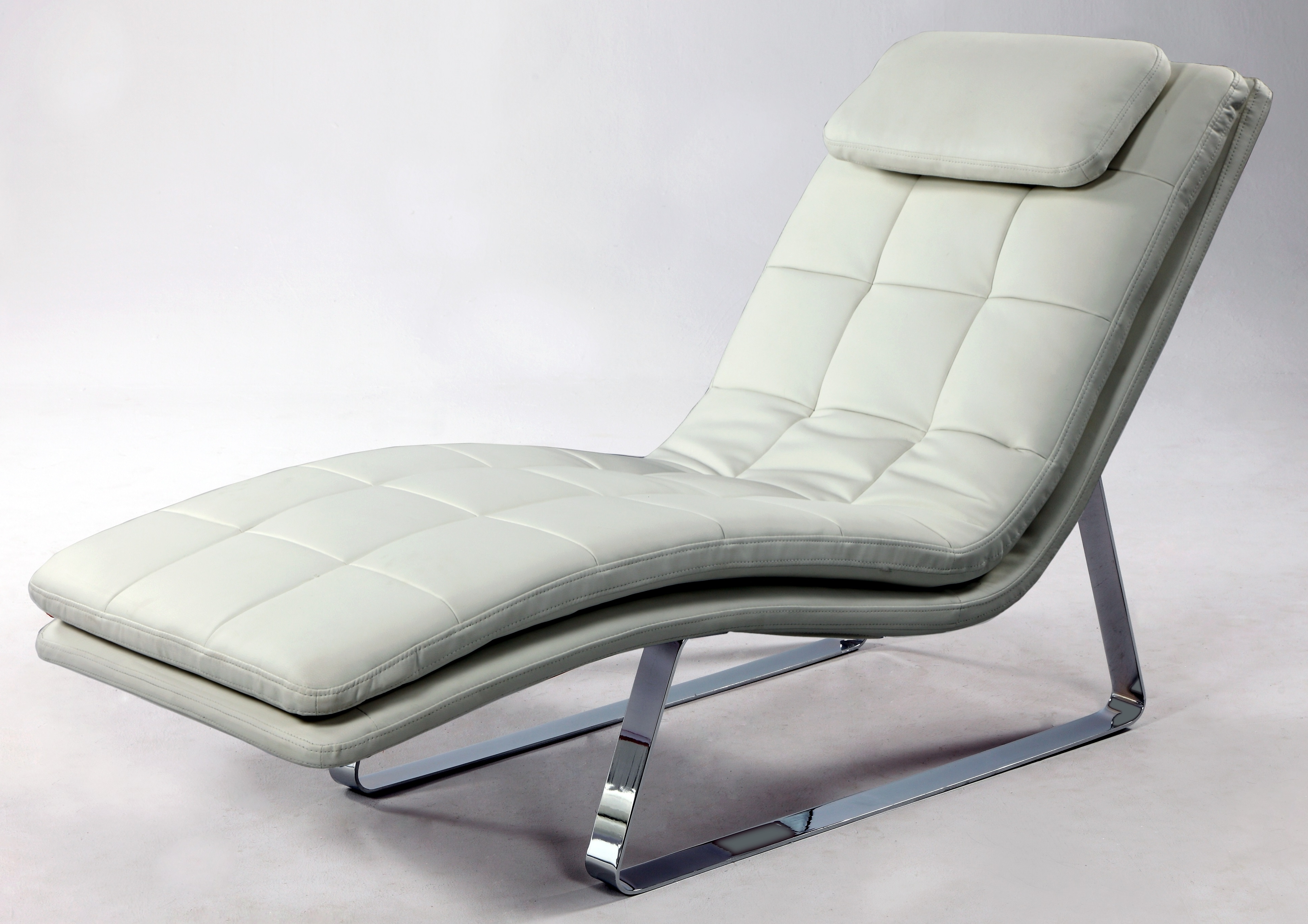 White Leather Chaise Lounges Pertaining To Newest Full Bonded Leather Tufted Chaise Lounge With Chrome Legs New York (View 13 of 15)