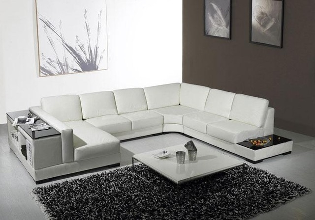 White Leather U Shaped Sectional Sofa With Storage – Modern With Well Liked Modern U Shaped Sectional Sofas (View 2 of 10)