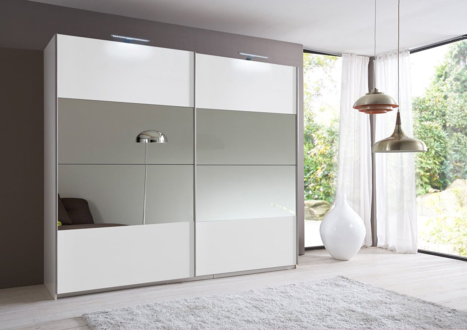 White Mirrored Wardrobes With Most Up To Date Slumberhaus Eleganz German Made 225Cm Sliding Mirror Door Wardrobe (View 12 of 15)