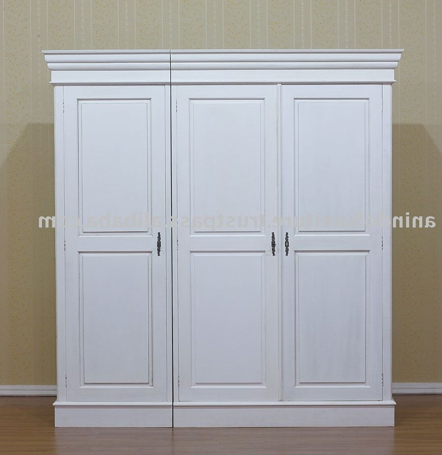 White Painted Furniture – 3 Doors Wardrobe – Buy White Painted Within Most Up To Date White Painted Wardrobes (View 5 of 15)