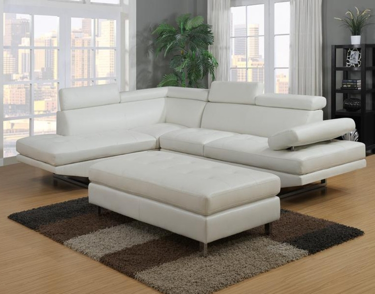 White Sectional Couch White Leather Sectional With Ottoman Ideas With Regard To 2018 Sectional Sofas With Ottoman (View 16 of 16)