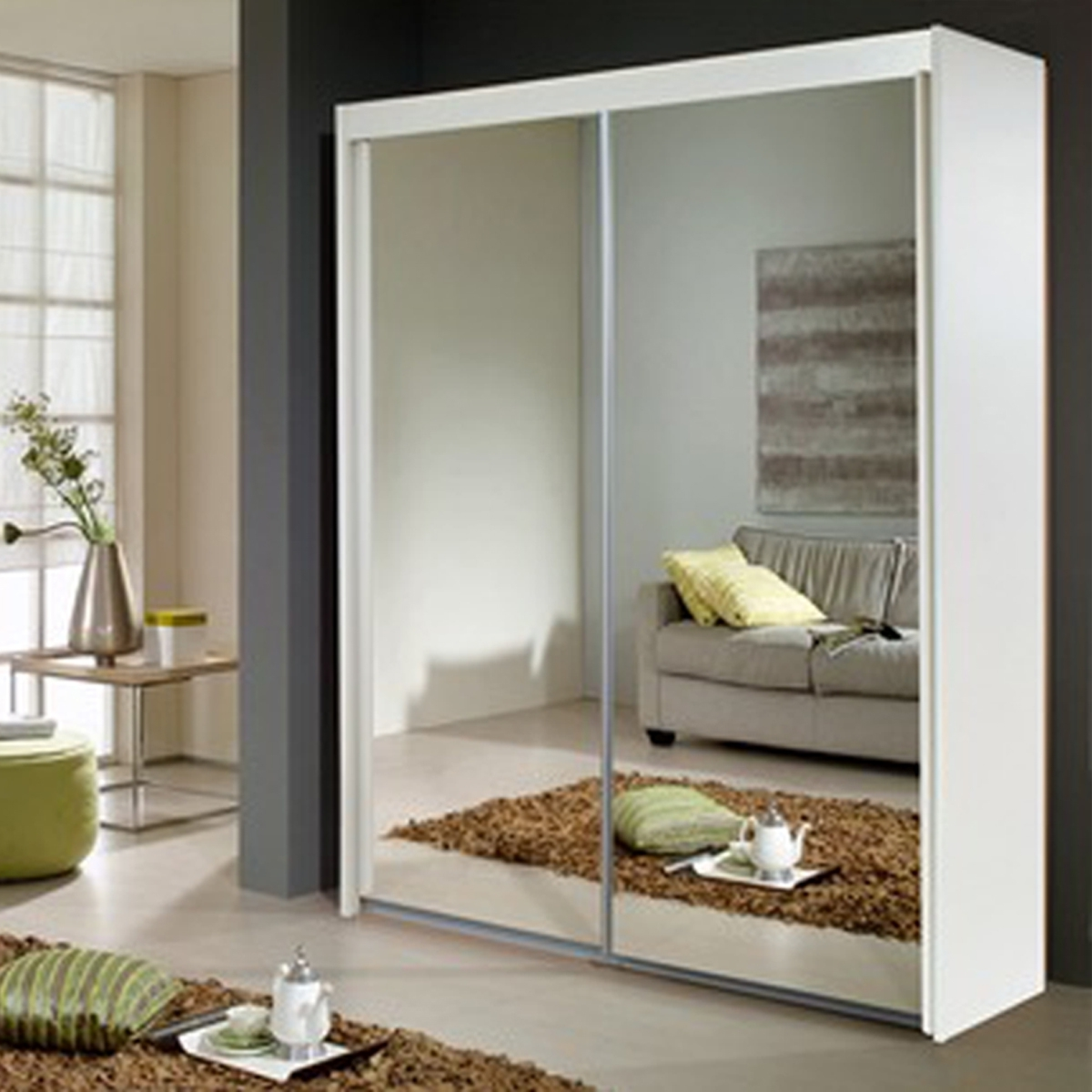 White Sliding Door Wardrobe With Mirror • Sliding Doors Design With Regard To 2018 White Mirrored Wardrobes (View 3 of 15)