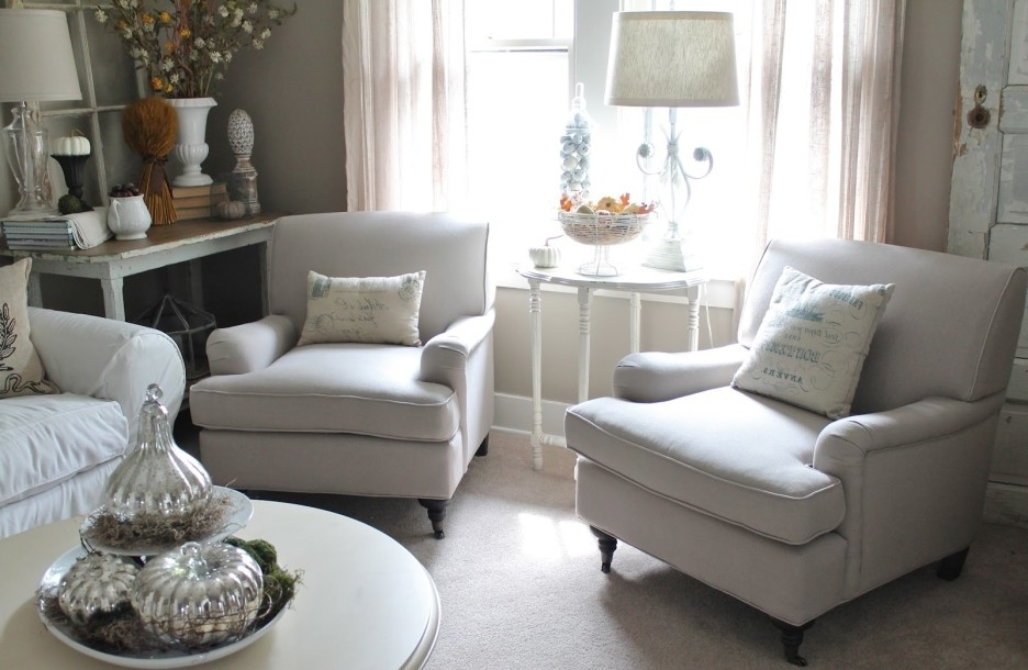 White Sofa Chairs Inside Popular Living Room Cozy White Living Room Decoration Using White Sofa And (View 6 of 10)
